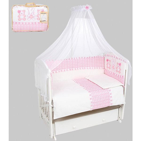 Постельное белье Нежные друзья 7 предметов, Leader kids, розовыйПостельное белье в кроватку новорождённого<br>Постельное белье Нежные друзья 7 предметов, Leader kids, розовый.<br><br>Характеристики:<br><br>- В комплекте: раздельный бортик 360x40 см; одеяло 85х115 см; подушка 40х60 см; балдахин 280х155 см (100% полиэстер); наволочка 40x60 см; пододеяльник 90x120 см; простыня на резинке 90x150 см<br>- Материал: бязь (100% хлопок)<br>- Наполнитель: нетканое полотно<br>- Цвет: розовый<br><br>Постельное белье Нежные друзья - прекрасный вариант для детской кроватки. Нежная расцветка и спокойный принт создадут нужную для отдыха атмосферу и подарят крепкий сон вашему крохе. Мягкий борт защитит малыша от сквозняков, а когда ребенок подрастет и начнет вставать самостоятельно - от ударов при возможных падениях. Простыня на резинке надежно одевается на матрасик, не давая образовываться складкам. Полупрозрачный балдахин защитит от солнечного света и насекомых. Балдахин предназначен для держателя овальной формы. Комплект выполнен из бязи (100% хлопок), наполнителем является нетканое полотно. Комплект порадует заботливых родителей хорошо пропускающим влагу материалом и красивым дизайном. Постельное белье не теряет внешний вид после многократных стирок.<br><br>Постельное белье Нежные друзья 7 предметов, Leader kids, розовое можно купить в нашем интернет-магазине.<br>Ширина мм: 200; Глубина мм: 1350; Высота мм: 1100; Вес г: 1200; Возраст от месяцев: 0; Возраст до месяцев: 36; Пол: Женский; Возраст: Детский; SKU: 5111968;