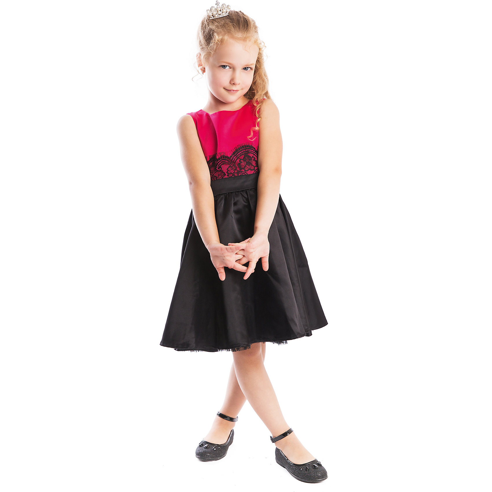 Нарядное платье для девочки PlayTodayОдежда<br>Платье для девочки от известного бренда PlayToday.<br>Платье без рукавов.<br><br>Выполнено в стиле new look – такие платья девушки стали носить в послевоенное время (50-е года), чтобы вновь выглядеть женственно. Украшено черным гипюром по талии. Застегивается на потайную молнию на спине, мягкая хлопковая подкладка обеспечивает удобство.<br>Состав:<br>Верх: 100% полиэстер, Подкладка: 100% хлопок<br><br>Ширина мм: 236<br>Глубина мм: 16<br>Высота мм: 184<br>Вес г: 177<br>Цвет: розовый<br>Возраст от месяцев: 72<br>Возраст до месяцев: 84<br>Пол: Женский<br>Возраст: Детский<br>Размер: 122,104,128,110,116,98<br>SKU: 5113788