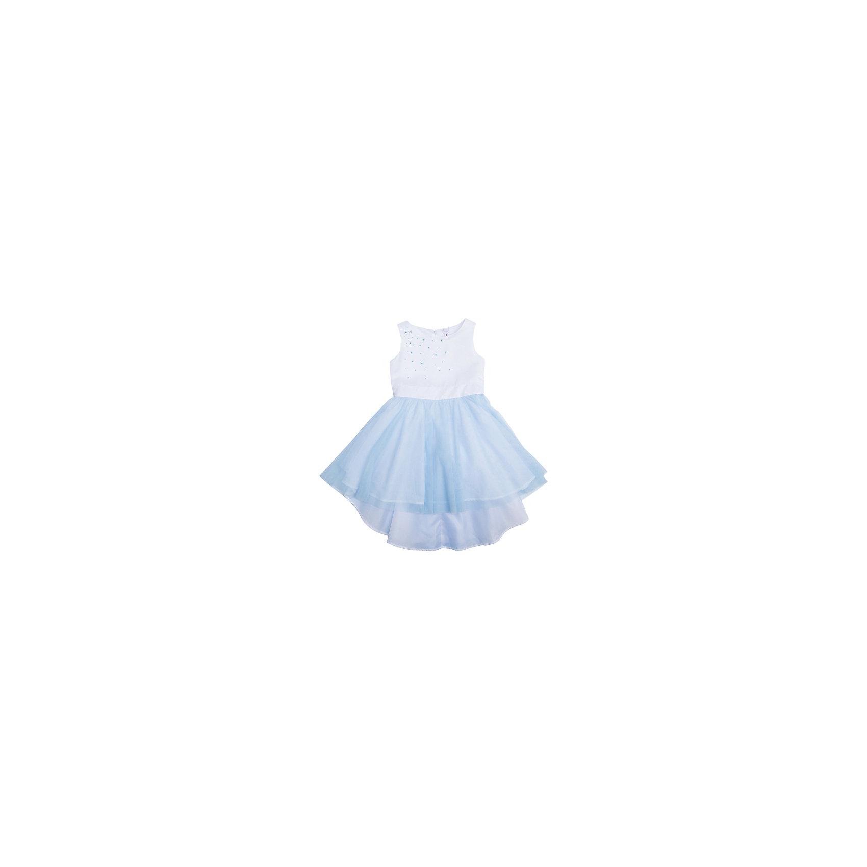 Платье для девочки PlayTodayОдежда<br>Платье для девочки от известного бренда PlayToday.<br>Платье без рукавов.<br><br>Верх выполнен из мягкого гипюра, хлопковая подкладка обеспечивает максимальное удобство. Удлиненная задняя часть создает эффект шлейфа. Украшено асимметричной россыпью жемчужных страз с правого плеча. Застегивается на потайную молнию сзади.<br>Состав:<br>Верх: 100% полиэстер, Подкладка: 100% хлопок<br><br>Ширина мм: 236<br>Глубина мм: 16<br>Высота мм: 184<br>Вес г: 177<br>Цвет: белый<br>Возраст от месяцев: 84<br>Возраст до месяцев: 96<br>Пол: Женский<br>Возраст: Детский<br>Размер: 128,116,98,122,104,110<br>SKU: 5113805