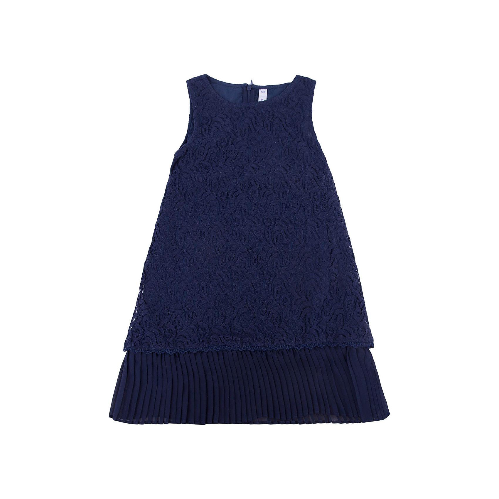 Нарядное платье для девочки PlayTodayОдежда<br>Платье для девочки от известного бренда PlayToday.<br>Платье без рукавов.<br><br>Верх из нежного гипюра, мягкая хлопковая подкладка обеспечивает удобство. По низу плиссированная отделка. Застегивается на потайную молнию сзади.<br>Состав:<br>Верх: 80% хлопок, 20% полиамид; подкладка: 100% хлопок<br><br>Ширина мм: 236<br>Глубина мм: 16<br>Высота мм: 184<br>Вес г: 177<br>Цвет: синий<br>Возраст от месяцев: 72<br>Возраст до месяцев: 84<br>Пол: Женский<br>Возраст: Детский<br>Размер: 128,110,116,98,122,104<br>SKU: 5113812