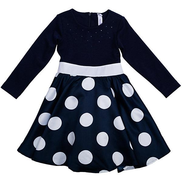 Нарядное платье для девочки PlayTodayОдежда<br>Платье для девочки от известного бренда PlayToday.<br>Платье с длинными рукавами.<br><br>Украшено женственным принтом в крупный горох, объемным белым цветком и россыпью страз.<br><br>Верх из легкой вискозы, чтобы ребенку не было жарко на празднике. Пышная юбка дополнена сетчатой подкладкой для объема. Застегивается на потайную молнию на спине.<br>Состав:<br>Верх: 66% вискоза, 29% полиэстер, 5% эластан, Юбка: 100% полиэстер, Подкладка: 100% хлопок<br><br>Ширина мм: 236<br>Глубина мм: 16<br>Высота мм: 184<br>Вес г: 177<br>Цвет: синий<br>Возраст от месяцев: 36<br>Возраст до месяцев: 48<br>Пол: Женский<br>Возраст: Детский<br>Размер: 122,98,116,110,104,128<br>SKU: 5113819