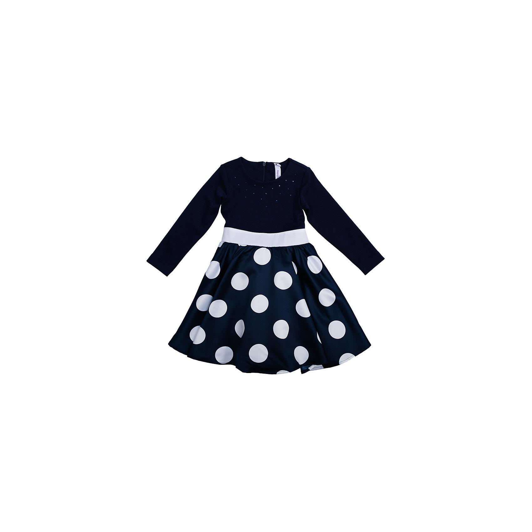 Нарядное платье для девочки PlayTodayОдежда<br>Платье для девочки от известного бренда PlayToday.<br>Платье с длинными рукавами.<br><br>Украшено женственным принтом в крупный горох, объемным белым цветком и россыпью страз.<br><br>Верх из легкой вискозы, чтобы ребенку не было жарко на празднике. Пышная юбка дополнена сетчатой подкладкой для объема. Застегивается на потайную молнию на спине.<br>Состав:<br>Верх: 66% вискоза, 29% полиэстер, 5% эластан, Юбка: 100% полиэстер, Подкладка: 100% хлопок<br><br>Ширина мм: 236<br>Глубина мм: 16<br>Высота мм: 184<br>Вес г: 177<br>Цвет: синий<br>Возраст от месяцев: 36<br>Возраст до месяцев: 48<br>Пол: Женский<br>Возраст: Детский<br>Размер: 104,122,128,110,116,98<br>SKU: 5113819