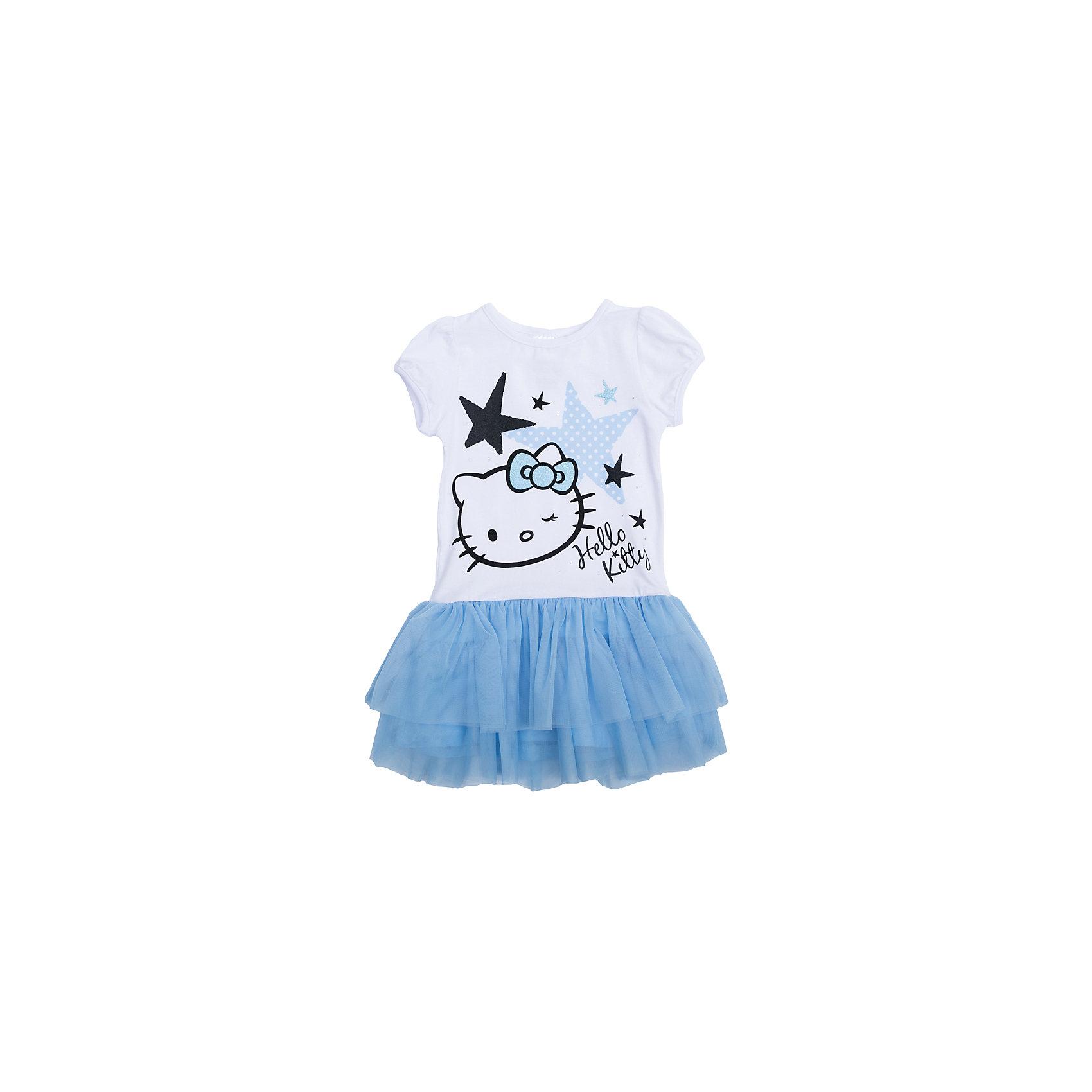 Платье для девочки PlayTodayПлатье для девочки от известного бренда PlayToday.<br>Хлопковое платье с пышной юбкой.<br><br>Удобная конструкция дополнена нарядным декором: лицензионным принтом «Hello Kitty», блестящим глиттером и серебристыми стразами. Застегивается на кнопки на плече, чтобы его удобно было надевать. Рукава-фонарики на мягкой резинке.<br>Состав:<br>Верх - 95% хлопок, 5% эластан; Отделка - 100% полиэстер<br><br>Ширина мм: 236<br>Глубина мм: 16<br>Высота мм: 184<br>Вес г: 177<br>Цвет: белый<br>Возраст от месяцев: 36<br>Возраст до месяцев: 48<br>Пол: Женский<br>Возраст: Детский<br>Размер: 104,122,98,116,110,128<br>SKU: 5113855