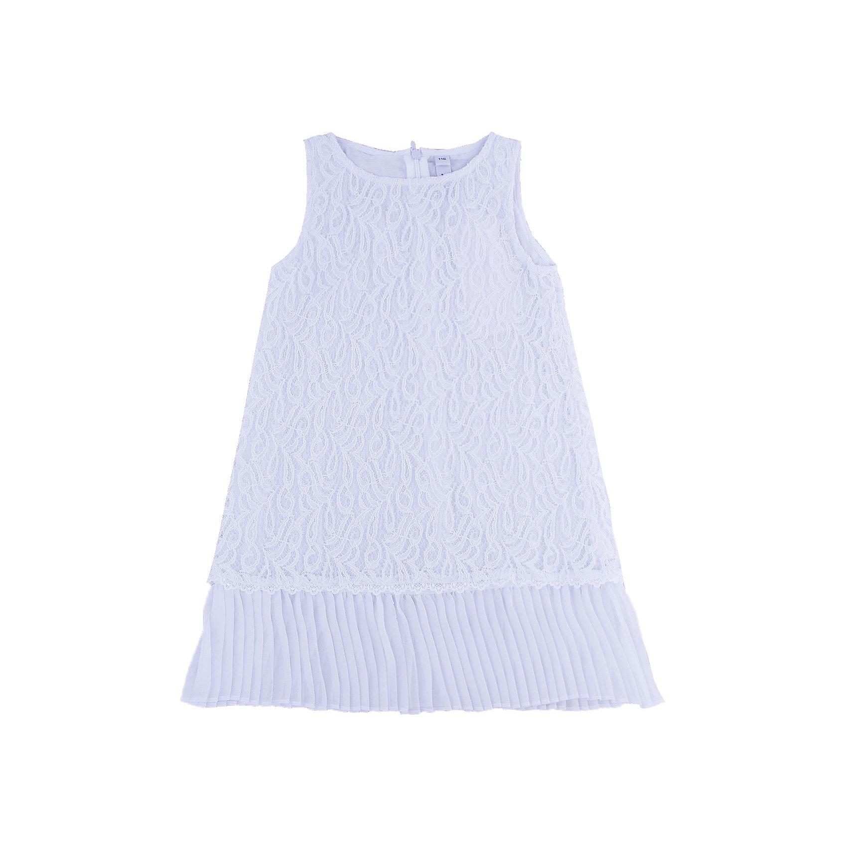 Нарядное платье для девочки PlayTodayОдежда<br>Платье для девочки от известного бренда PlayToday.<br>Платье без рукавов.<br><br>Верх из нежного гипюра, мягкая хлопковая подкладка обеспечивает удобство. По низу плиссированная отделка. Застегивается на потайную молнию сзади.<br>Состав:<br>Верх: 80% хлопок, 20% полиамид; подкладка: 100% хлопок<br><br>Ширина мм: 236<br>Глубина мм: 16<br>Высота мм: 184<br>Вес г: 177<br>Цвет: белый<br>Возраст от месяцев: 72<br>Возраст до месяцев: 84<br>Пол: Женский<br>Возраст: Детский<br>Размер: 122,104,128,110,116,98<br>SKU: 5113869