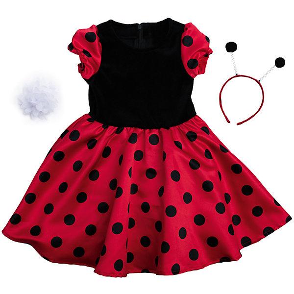 Нарядное платье для девочки PlayTodayКарнавальные костюмы для девочек<br>Платье для девочки от известного бренда PlayToday.<br>Платье с короткими рукавами.<br><br>Модель из комбинарованного материала. Верх выполнен из мягкого велюра, юбка и рукава – из сатина с легким матовым блеском. Застегивается на потайную молнию на спине, рукава-фонарики на мягкой резинке.<br><br>Платье дополнено ободком с рожками божьей коровки и белым цветком, чтобы завершить нарядный образ.<br>Состав:<br>Верх: 75% хлопок, 25% полиамид, подкладка: 100% хлопок<br>Ширина мм: 236; Глубина мм: 16; Высота мм: 184; Вес г: 177; Цвет: красный; Возраст от месяцев: 24; Возраст до месяцев: 36; Пол: Женский; Возраст: Детский; Размер: 98,104,122,116,110,128; SKU: 5113876;