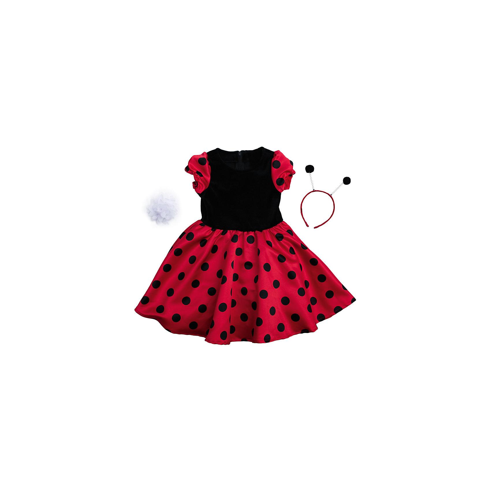 Нарядное платье для девочки PlayTodayКарнавальные костюмы и аксессуары<br>Платье для девочки от известного бренда PlayToday.<br>Платье с короткими рукавами.<br><br>Модель из комбинарованного материала. Верх выполнен из мягкого велюра, юбка и рукава – из сатина с легким матовым блеском. Застегивается на потайную молнию на спине, рукава-фонарики на мягкой резинке.<br><br>Платье дополнено ободком с рожками божьей коровки и белым цветком, чтобы завершить нарядный образ.<br>Состав:<br>Верх: 75% хлопок, 25% полиамид, подкладка: 100% хлопок<br><br>Ширина мм: 236<br>Глубина мм: 16<br>Высота мм: 184<br>Вес г: 177<br>Цвет: красный<br>Возраст от месяцев: 72<br>Возраст до месяцев: 84<br>Пол: Женский<br>Возраст: Детский<br>Размер: 122,104,128,110,116,98<br>SKU: 5113876