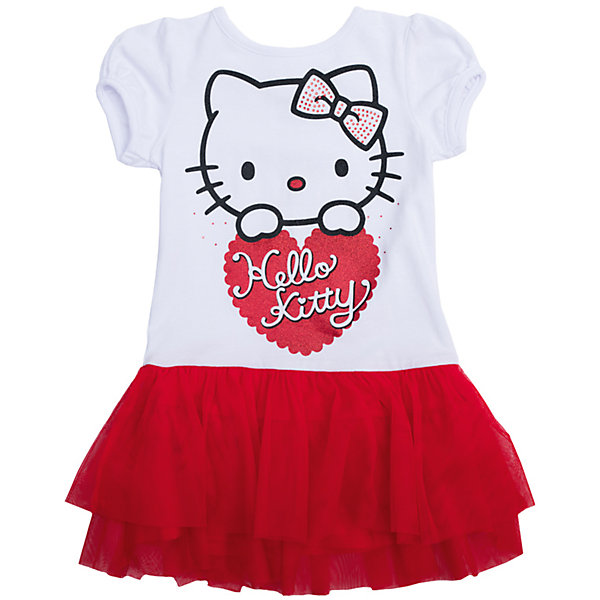 Нарядное платье для девочки PlayTodayОдежда<br>Платье для девочки от известного бренда PlayToday.<br>Хлопковое платье с пышной юбкой.<br><br>Удобная конструкция дополнена нарядным декором: лицензионным принтом «Hello Kitty», блестящим глиттером и серебристыми стразами. Застегивается на кнопки на плече, чтобы его удобно было надевать. Рукава-фонарики на мягкой резинке.<br>Состав:<br>Верх - 95% хлопок, 5% эластан; Отделка - 100% полиэстер<br>Ширина мм: 236; Глубина мм: 16; Высота мм: 184; Вес г: 177; Цвет: красный; Возраст от месяцев: 48; Возраст до месяцев: 60; Пол: Женский; Возраст: Детский; Размер: 128,110,104,122,98,116; SKU: 5113905;