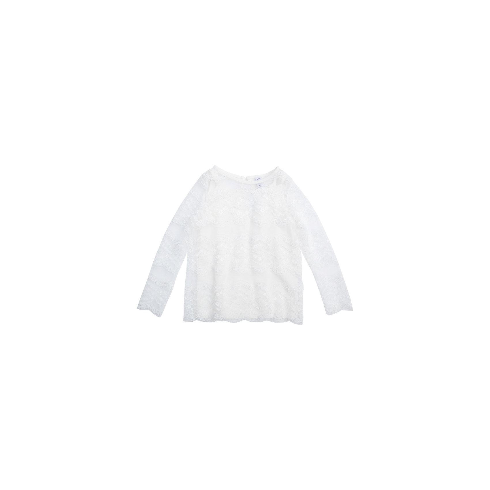 Блузка для девочки PlayTodayБлузка для девочки от известного бренда PlayToday.<br>Трикотажная блузка.<br><br>Модель состоит из двух изделий: топа и футболки с длинными рукавами. Верхний слой выполнен из ажурного эластичного гипюра, нижний – из мягкого хлопка. Стильные рукава 3/4. Застегивается на пуговицу на спине.<br>Состав:<br>Верх: 100% полиамид, подкладка: 95% хлопок, 5% эластан<br><br>Ширина мм: 186<br>Глубина мм: 87<br>Высота мм: 198<br>Вес г: 197<br>Цвет: белый<br>Возраст от месяцев: 84<br>Возраст до месяцев: 96<br>Пол: Женский<br>Возраст: Детский<br>Размер: 128,122,116,110,104,98<br>SKU: 5113912