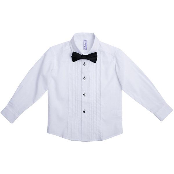 Рубашка для мальчика PlayTodayБлузки и рубашки<br>Рубашка для мальчика от известного бренда PlayToday.<br>Нарядная белая сорочка.<br><br>Классическая модель: отложной воротник, аккуратные рукава с усеченными углами, полупрозрачные пуговицы. Контрастная отделка петель придает оригинальности. <br><br>Сорочка украшена декоративными вертикальными швами по линии планки. Дополнена атласным галстуком-бабочкой.<br>Состав:<br>67% полиэстер, 30% хлопок, 3% эластан<br><br>Ширина мм: 174<br>Глубина мм: 10<br>Высота мм: 169<br>Вес г: 157<br>Цвет: синий<br>Возраст от месяцев: 24<br>Возраст до месяцев: 36<br>Пол: Мужской<br>Возраст: Детский<br>Размер: 98,104,128,110,116,122<br>SKU: 5113941