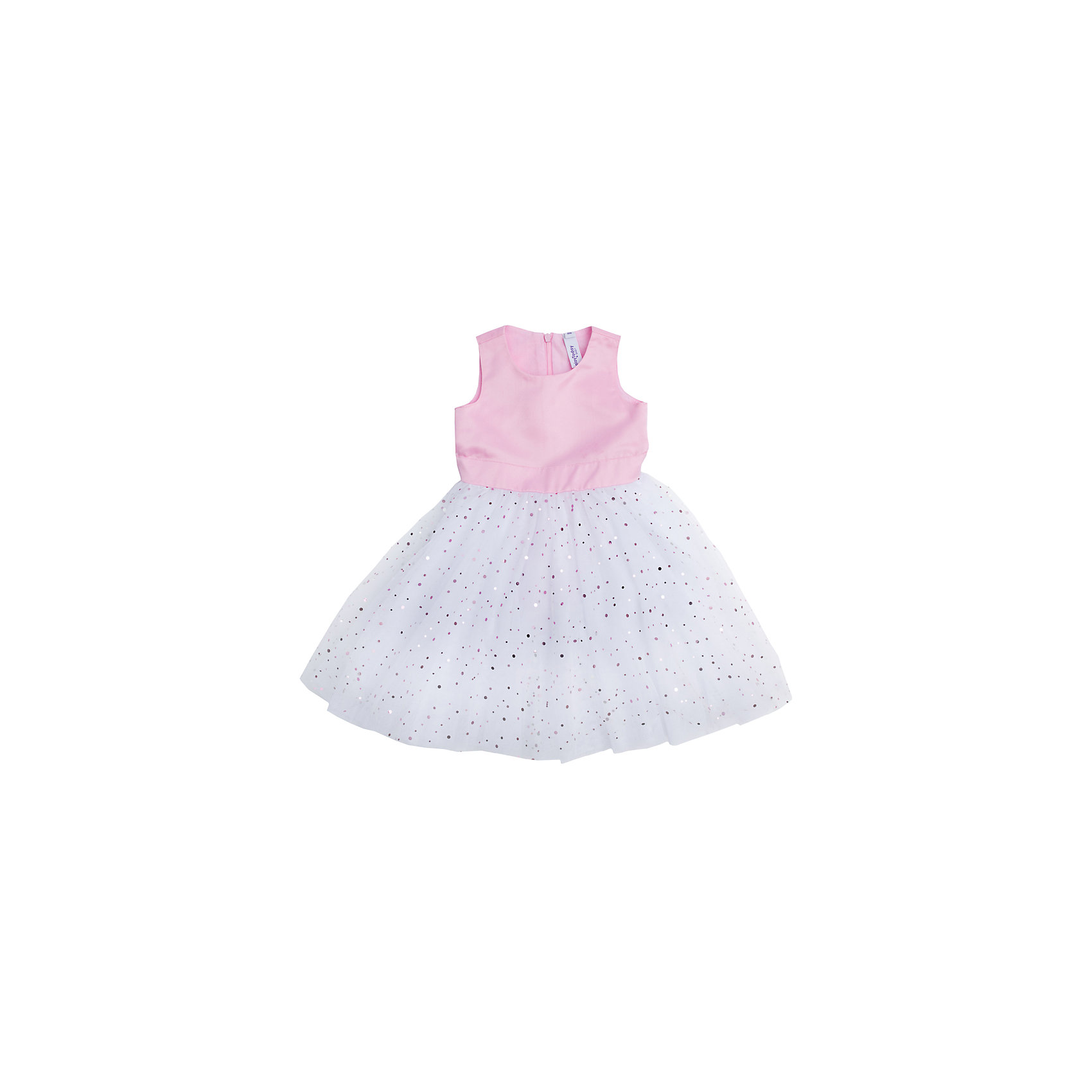 Нарядное платье для девочки PlayTodayОдежда<br>Платье для девочки от известного бренда PlayToday.<br>Пышное платье без рукавов.<br><br>Верх выполнен из сатина с легким матовым блеском. Пышная юбка – из легкого сетчатого материала. Хлопковая подкладка обеспечивает дополнительное удобство.<br><br>Юбка украшена россыпью сверкающих пайеток разных размеров.  Модель дополнена широким поясом, чтобы завязать бант. Застегивается на потайную молнию на спине.<br>Состав:<br>Верх: 100% полиэстер, Подкладка: 100% хлопок<br><br>Ширина мм: 236<br>Глубина мм: 16<br>Высота мм: 184<br>Вес г: 177<br>Цвет: белый<br>Возраст от месяцев: 24<br>Возраст до месяцев: 36<br>Пол: Женский<br>Возраст: Детский<br>Размер: 98,104,110,116<br>SKU: 5114009