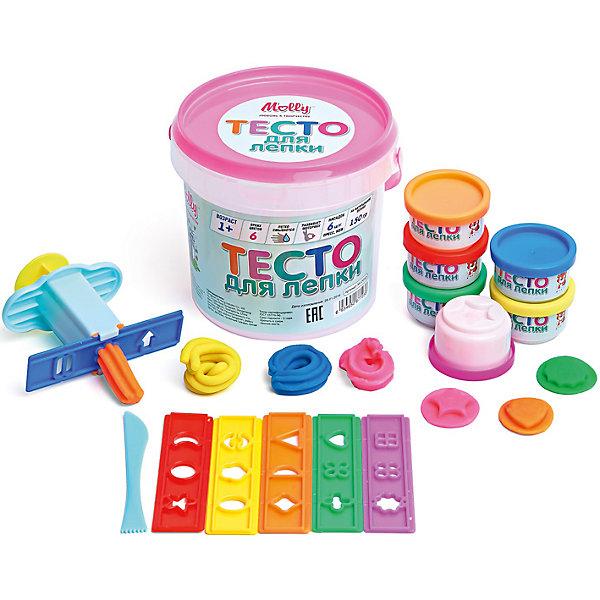 Тесто для лепки 6 цв (150 г) + пресс, 6 насадок, ножТесто для лепки<br>Тесто для лепки 6 цв (150 г) + пресс, 6 насадок, нож<br><br>Характеристики:<br><br>- в набор входит: 6 банок с тестом, 6 насадок, пресс, нож<br>- состав: пластик, тесто: вода, мука, масло. <br>- формат: 12 * 12 * 12 см.<br>- вес: 160 гр.<br>- для детей в возрасте: от 1 до 7 лет<br>- Страна производитель: Китай<br><br>Тесто для лепки в удобных баночках с формочками в крышках придет по вкусу малышам и родителям. Популярный бренд Molly (Молли) специализируется на товарах для детского творчества и развития. Безопасный состав теста нетоксичен и безопасен даже для маленьких детей. В набор входит пресс и насадки к нему, для формирования фигурок из теста. Удобный пластиковый ножичек с волнообразным основанием поможет делать прекрасные волны на шедеврах. Донышко баночек имеет углубления в виде разных фигур, таких как звездочка, треугольник. Яркие шесть цветов теста можно смешивать между собой и получать новые оттенки, что понравится юным творцам. После игры тесто можно хранить в практичных баночках из комплекта. Работа с тестом для лепки разрабатывает моторику рук, творческие способности, успокаивает, помогает развить аккуратность и внимание. <br><br>Тесто для лепки 6 цв (150 г) + пресс, 6 насадок, нож можно купить в нашем интернет-магазине.<br><br>Ширина мм: 11<br>Глубина мм: 11<br>Высота мм: 12<br>Вес г: 150<br>Возраст от месяцев: 12<br>Возраст до месяцев: 60<br>Пол: Унисекс<br>Возраст: Детский<br>SKU: 5115167