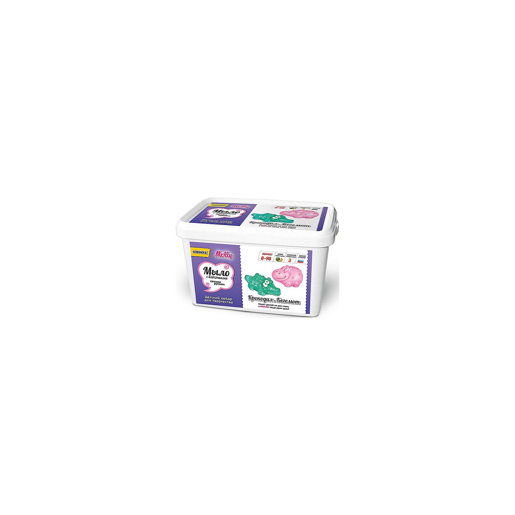 Мыло своими руками Крокодил и бегемотОригинальное тематическое мыло, которое можно создать своими руками. В состав набора входит: мыльная основа 200гр., 2 красителя, 2 ароматизатора, 2 формы для мыла, емкость для плавления мыльной основы, одноразовые перчатки и подробная инструкция.<br><br>Ширина мм: 20<br>Глубина мм: 13<br>Высота мм: 11<br>Вес г: 380<br>Возраст от месяцев: 96<br>Возраст до месяцев: 144<br>Пол: Унисекс<br>Возраст: Детский<br>SKU: 5115172