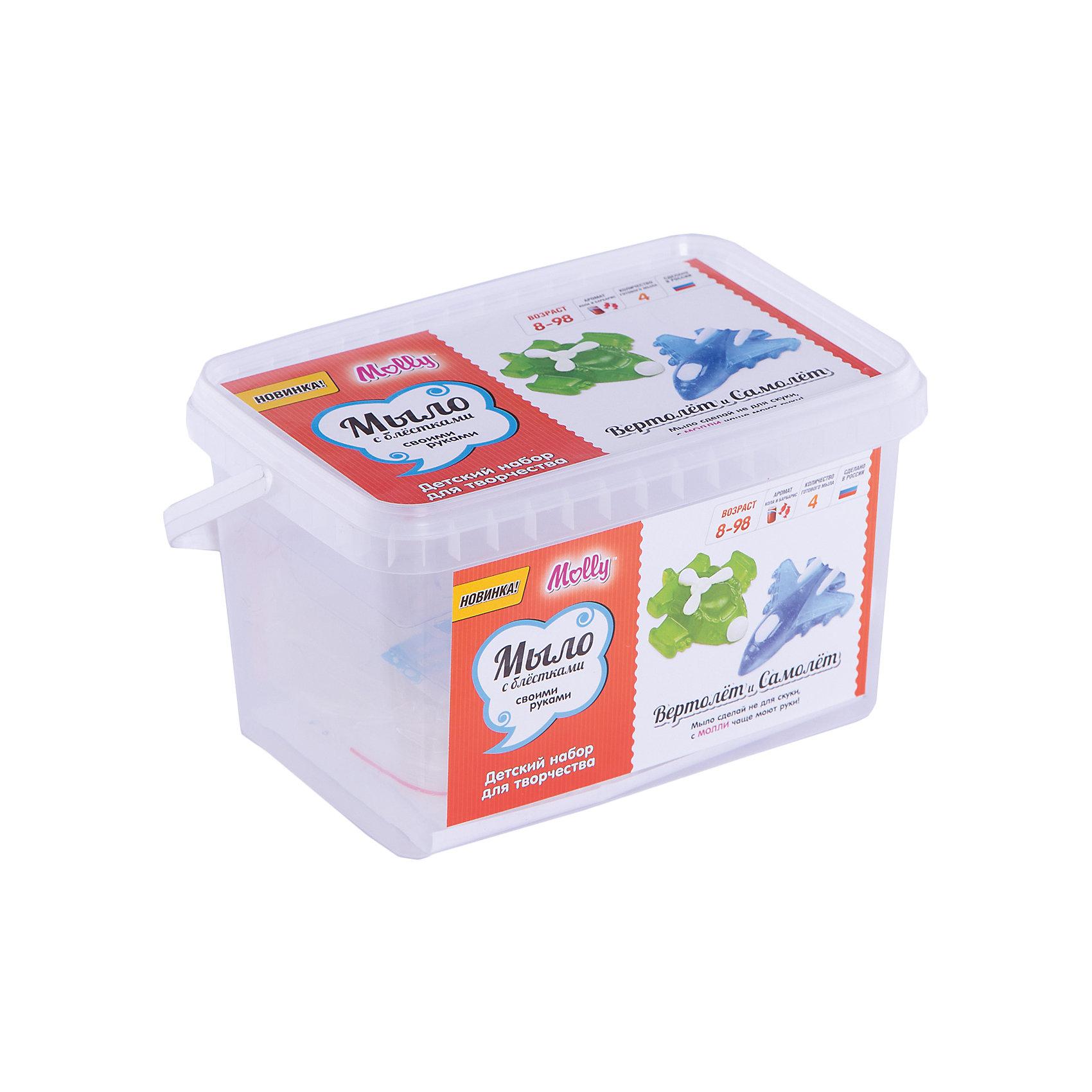 Мыло своими руками Вертолет и самолетСоздание мыла<br>Оригинальное тематическое мыло, которое можно создать своими руками. В состав набора входит: мыльная основа 200гр., 2 красителя, 2 ароматизатора, 2 формы для мыла, емкость для плавления мыльной основы, одноразовые перчатки и подробная инструкция.<br><br>Ширина мм: 20<br>Глубина мм: 13<br>Высота мм: 11<br>Вес г: 380<br>Возраст от месяцев: 96<br>Возраст до месяцев: 144<br>Пол: Унисекс<br>Возраст: Детский<br>SKU: 5115173