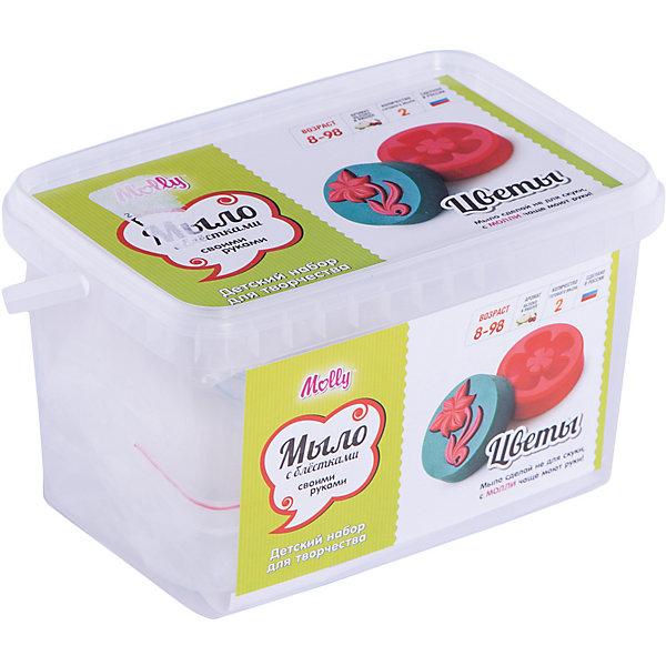 Мыло своими руками ЦветыНаборы для создания мыла<br>Оригинальное тематическое мыло, которое можно создать своими руками. В состав набора входит: мыльная основа 200гр., 2 красителя, 2 ароматизатора, 2 формы для мыла, емкость для плавления мыльной основы, одноразовые перчатки и подробная инструкция.<br><br>Ширина мм: 20<br>Глубина мм: 13<br>Высота мм: 11<br>Вес г: 380<br>Возраст от месяцев: 96<br>Возраст до месяцев: 144<br>Пол: Унисекс<br>Возраст: Детский<br>SKU: 5115187