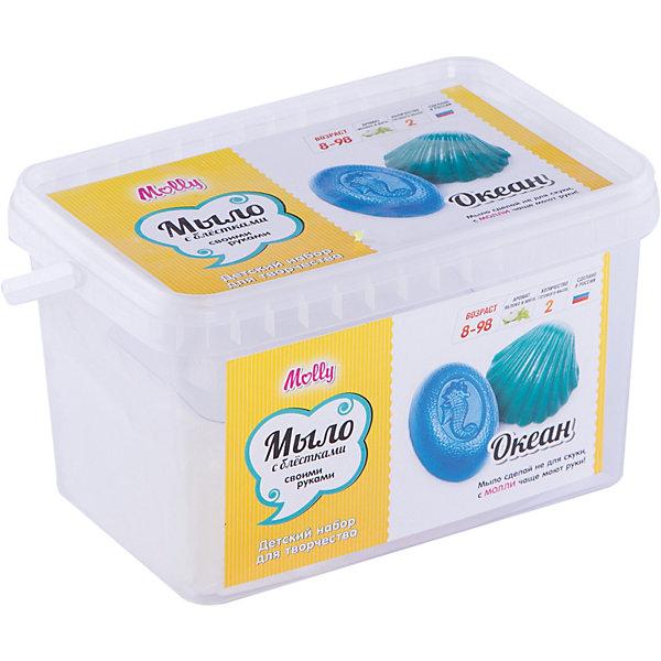 Мыло своими руками  ОкеанНаборы для создания мыла<br>Оригинальное тематическое мыло, которое можно создать своими руками. В состав набора входит: мыльная основа 200гр., 2 красителя, 2 ароматизатора, 2 формы для мыла, емкость для плавления мыльной основы, одноразовые перчатки и подробная инструкция.<br><br>Ширина мм: 20<br>Глубина мм: 13<br>Высота мм: 11<br>Вес г: 380<br>Возраст от месяцев: 96<br>Возраст до месяцев: 144<br>Пол: Унисекс<br>Возраст: Детский<br>SKU: 5115190