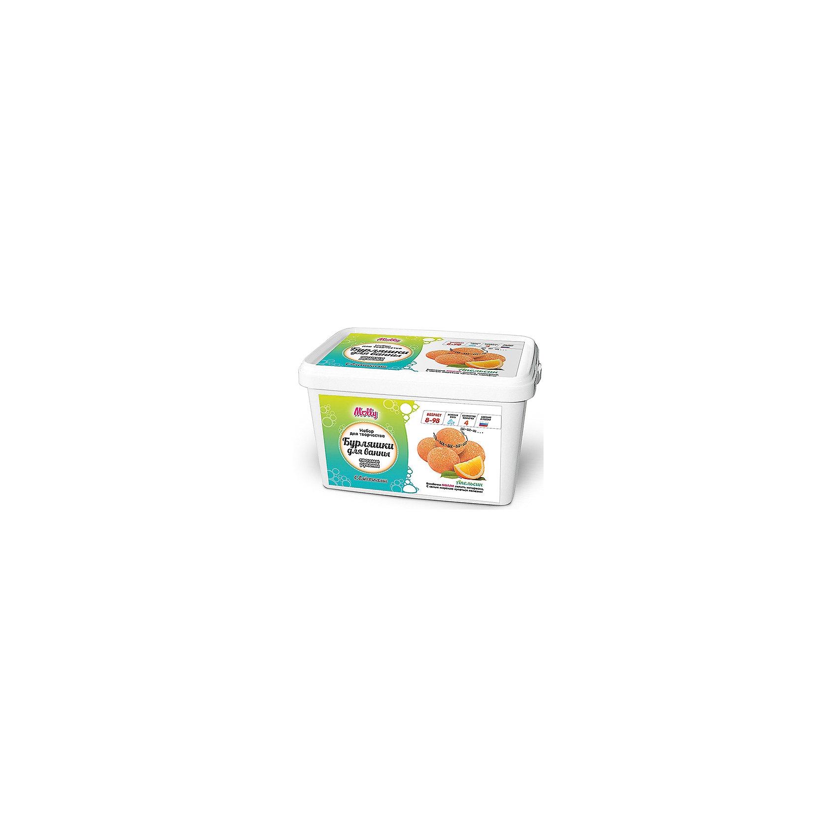 Бурляшки для ванны  своими руками АпельсинНаборы детской косметики<br>Оригинальные бурляшки (бомбочки для ванн), которые можно создать своими руками. В состав набора входит: сода, лимонная кислота, морская соль, 1 краситель, 1 ароматизатор,  форма для бурляшек,  одноразовые перчатки и подробная инструкция.<br><br>Ширина мм: 20<br>Глубина мм: 13<br>Высота мм: 11<br>Вес г: 500<br>Возраст от месяцев: 96<br>Возраст до месяцев: 144<br>Пол: Унисекс<br>Возраст: Детский<br>SKU: 5115193
