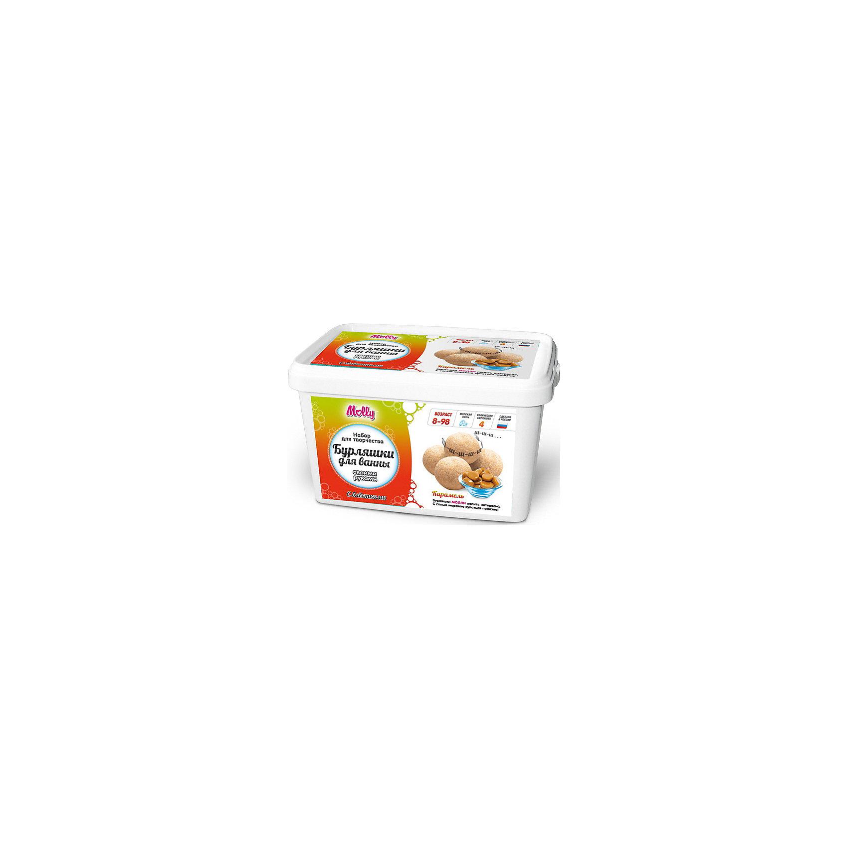 Бурляшки для ванны своими руками  КарамельОригинальные бурляшки (бомбочки для ванн), которые можно создать своими руками. В состав набора входит: сода, лимонная кислота, морская соль, 1 краситель, 1 ароматизатор,  форма для бурляшек,  одноразовые перчатки и подробная инструкция.<br><br>Ширина мм: 20<br>Глубина мм: 13<br>Высота мм: 11<br>Вес г: 500<br>Возраст от месяцев: 96<br>Возраст до месяцев: 144<br>Пол: Унисекс<br>Возраст: Детский<br>SKU: 5115198