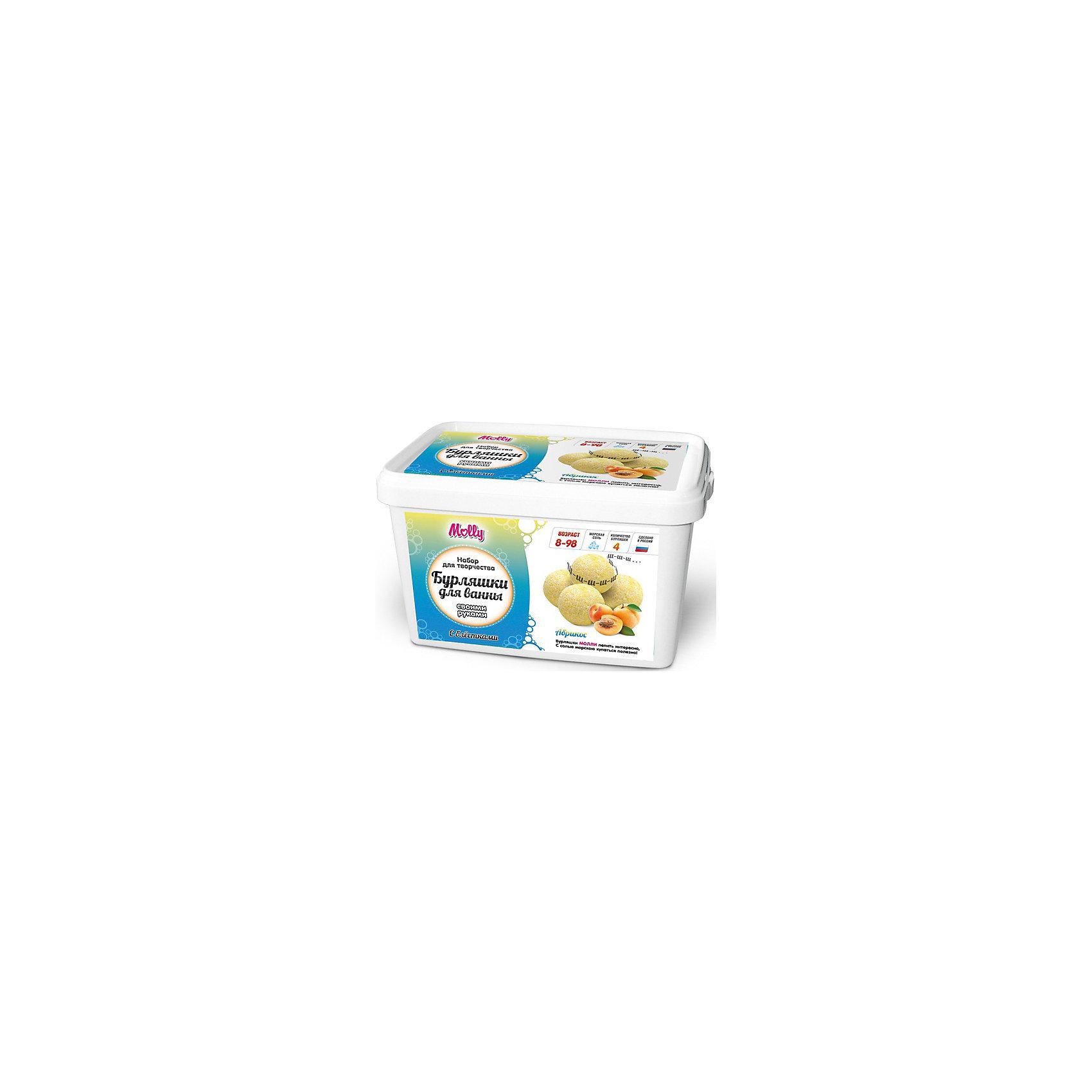 Бурляшки для ванны своими руками  АбрикосКосметика, грим и парфюмерия<br>Оригинальные бурляшки (бомбочки для ванн), которые можно создать своими руками. В состав набора входит: сода, лимонная кислота, морская соль, 1 краситель, 1 ароматизатор,  форма для бурляшек,  одноразовые перчатки и подробная инструкция.<br><br>Ширина мм: 20<br>Глубина мм: 13<br>Высота мм: 11<br>Вес г: 500<br>Возраст от месяцев: 96<br>Возраст до месяцев: 144<br>Пол: Унисекс<br>Возраст: Детский<br>SKU: 5115199