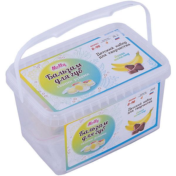 Бальзам для губ Банан-шоколадНаборы детской косметики<br>Оригинальные бурляшки (бомбочки для ванн), которые можно создать своими руками. В состав набора входит: сода, лимонная кислота, морская соль, 1 краситель, 1 ароматизатор,  форма для бурляшек,  одноразовые перчатки и подробная инструкция.<br><br>Ширина мм: 20<br>Глубина мм: 13<br>Высота мм: 11<br>Вес г: 215<br>Возраст от месяцев: 96<br>Возраст до месяцев: 144<br>Пол: Унисекс<br>Возраст: Детский<br>SKU: 5115200