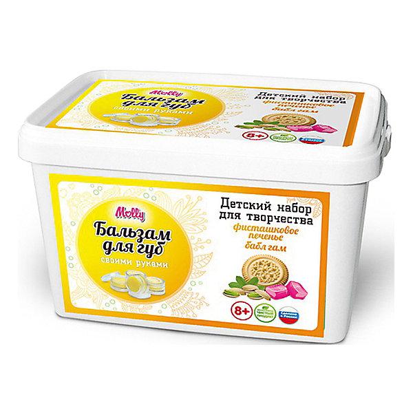 Бальзам для губ Фисташковое печенье-Бабл ГамНаборы детской косметики<br>Оригинальный бальзам для губ, который можно создать своими руками. В состав набора входит: масло какао, пчелиный воск, 2 ароматизатора, ложка,  баночки для готового бальзама,  одноразовые перчатки и подробная инструкция.<br><br>Ширина мм: 20<br>Глубина мм: 13<br>Высота мм: 11<br>Вес г: 215<br>Возраст от месяцев: 96<br>Возраст до месяцев: 144<br>Пол: Унисекс<br>Возраст: Детский<br>SKU: 5115203