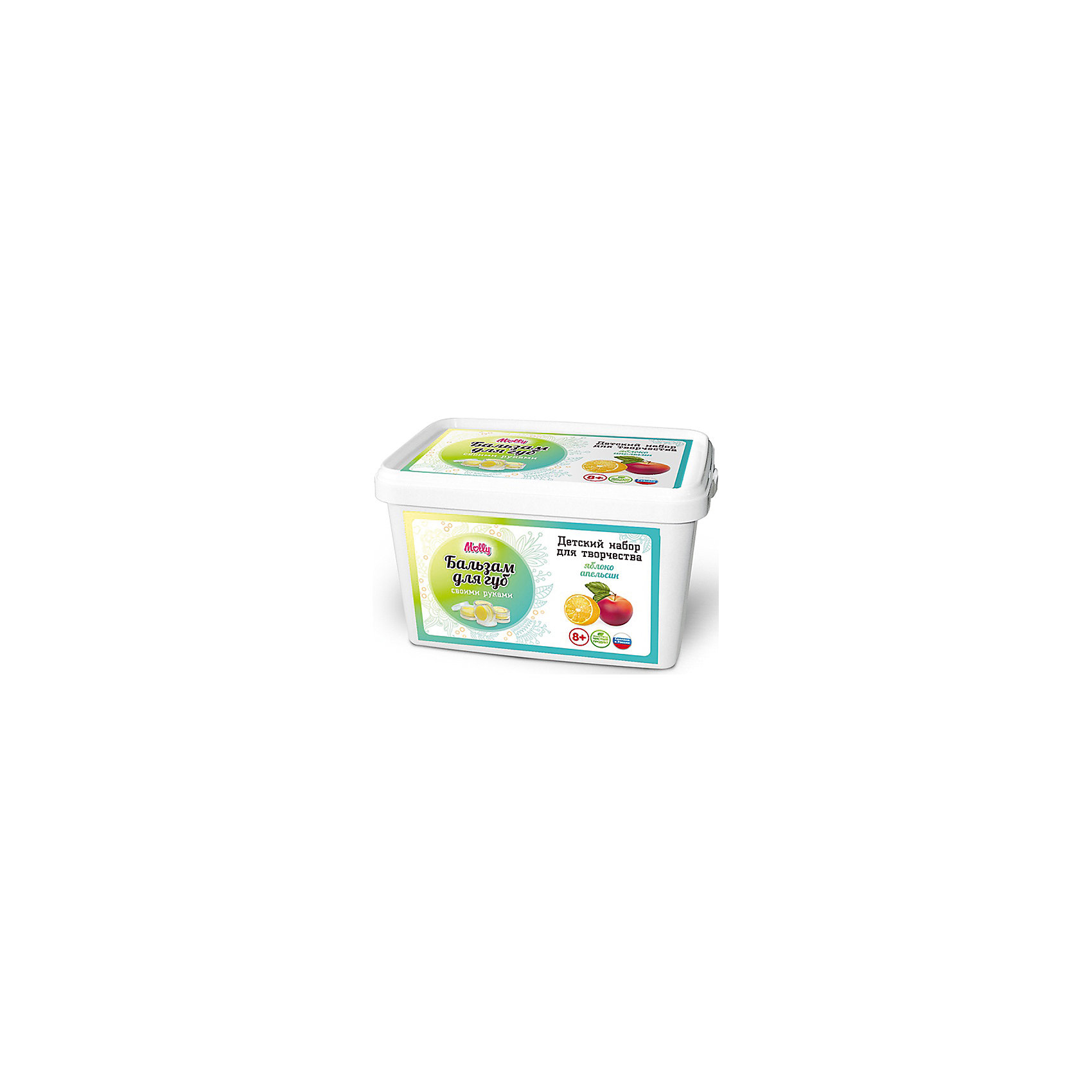 Бальзам для губ Яблоко-АпельсинКосметика, грим и парфюмерия<br>Оригинальный бальзам для губ, который можно создать своими руками. В состав набора входит: масло какао, пчелиный воск, 2 ароматизатора, ложка,  баночки для готового бальзама,  одноразовые перчатки и подробная инструкция.<br><br>Ширина мм: 20<br>Глубина мм: 13<br>Высота мм: 11<br>Вес г: 215<br>Возраст от месяцев: 96<br>Возраст до месяцев: 144<br>Пол: Унисекс<br>Возраст: Детский<br>SKU: 5115204
