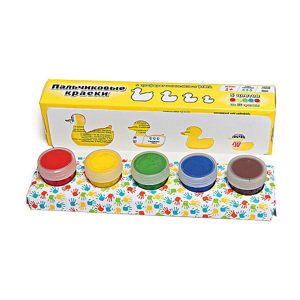 Пальчиковые краски + трафарет Утята 5цв х 22млПальчиковые краски<br>Краски идеально подходят для раннего обучения цветам, развития тонкой моторики, тактильного восприятия. В состав включены тематический трафарет для рисования. Состав: пищевой краситель, целлюлозный загуститель, глицерин, мел, консервант косметический, вода питьевая.<br><br>Ширина мм: 24<br>Глубина мм: 6<br>Высота мм: 4<br>Вес г: 110<br>Возраст от месяцев: 12<br>Возраст до месяцев: 60<br>Пол: Унисекс<br>Возраст: Детский<br>SKU: 5115210