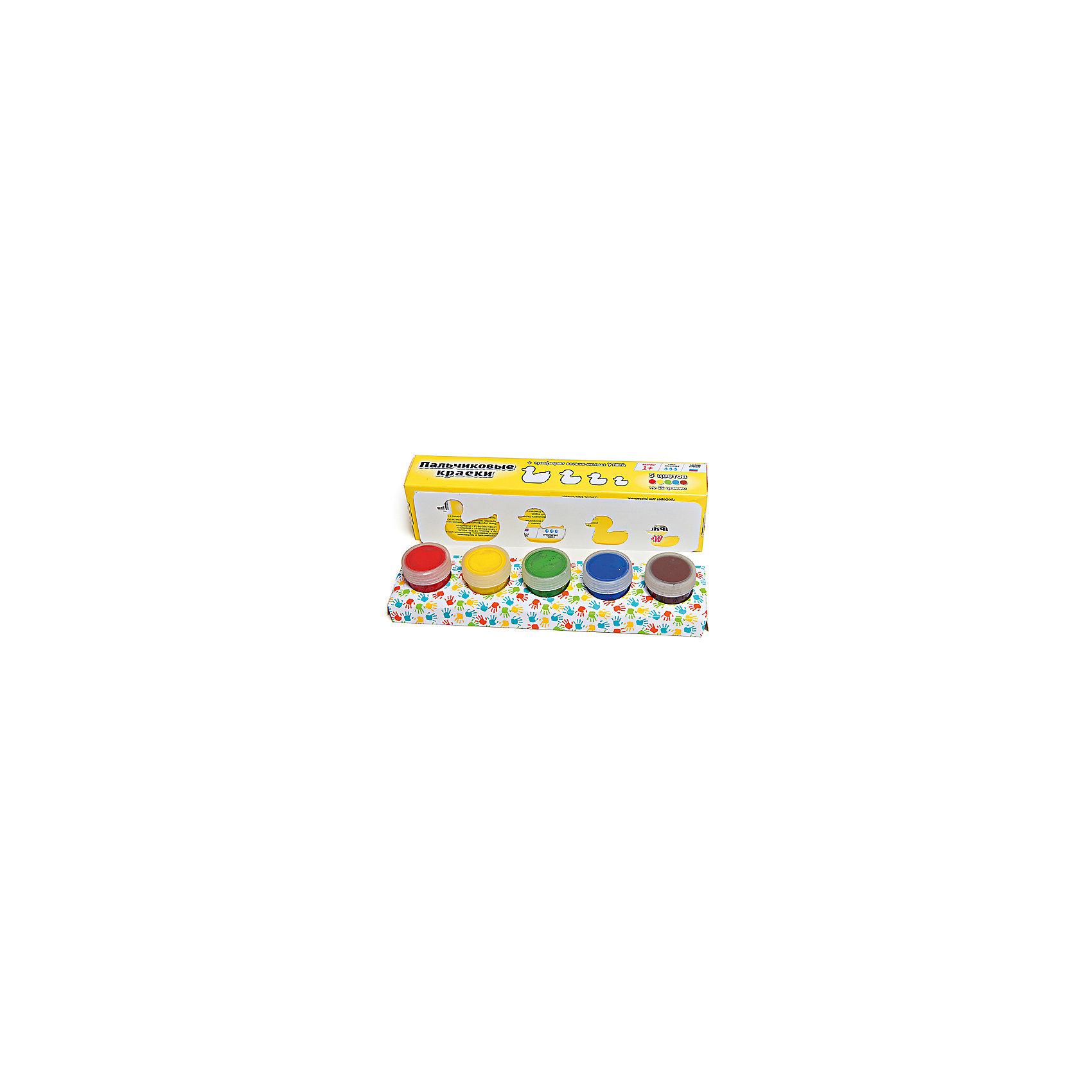 Пальчиковые краски + трафарет Утята 5цв х 22млКраски идеально подходят для раннего обучения цветам, развития тонкой моторики, тактильного восприятия. В состав включены тематический трафарет для рисования. Состав: пищевой краситель, целлюлозный загуститель, глицерин, мел, консервант косметический, вода питьевая.<br><br>Ширина мм: 24<br>Глубина мм: 6<br>Высота мм: 4<br>Вес г: 110<br>Возраст от месяцев: 12<br>Возраст до месяцев: 60<br>Пол: Унисекс<br>Возраст: Детский<br>SKU: 5115210
