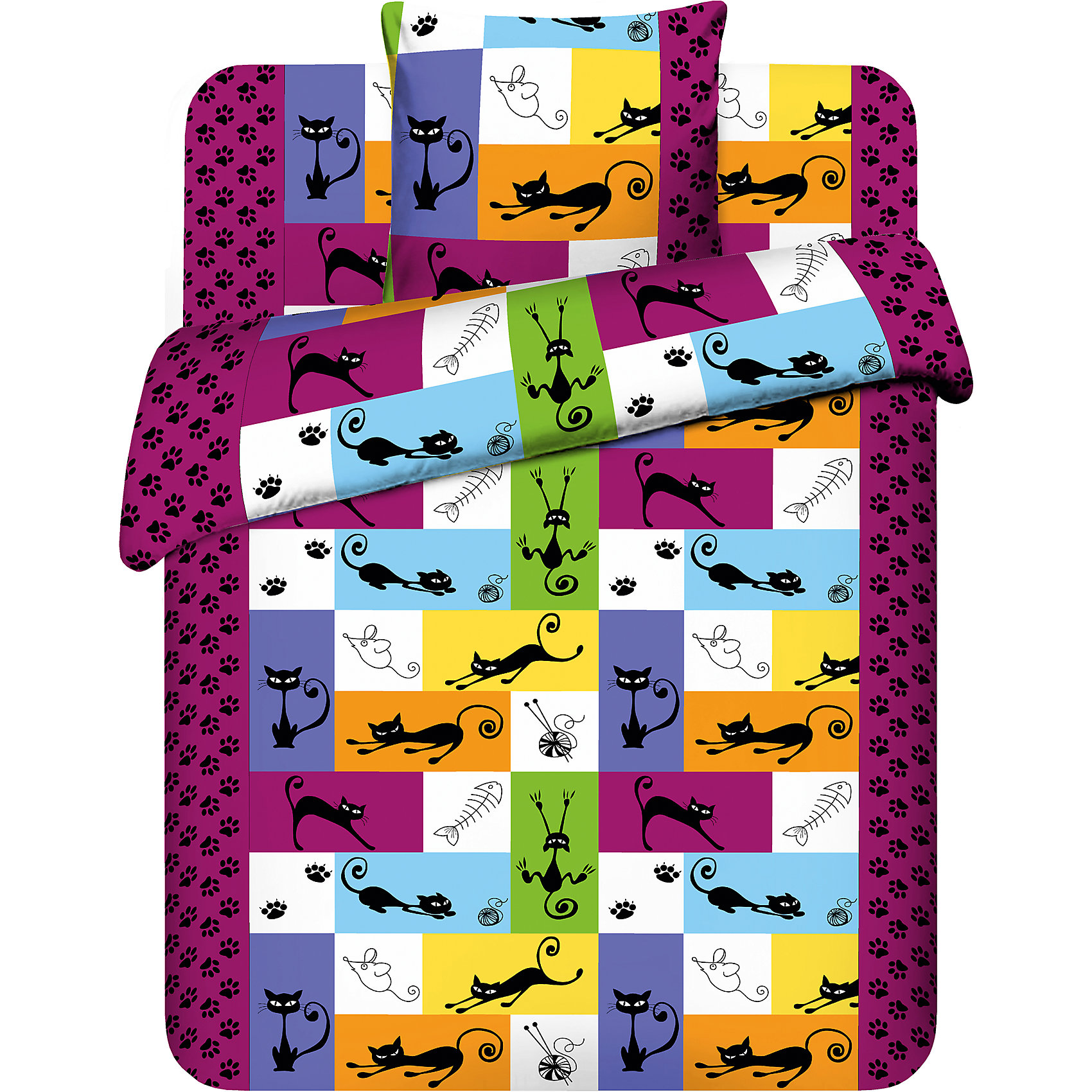 Василёк Постельное белье 1,5сп Котомания бязь (70х70), Василек купить бязь интернет магазин екатеринбург