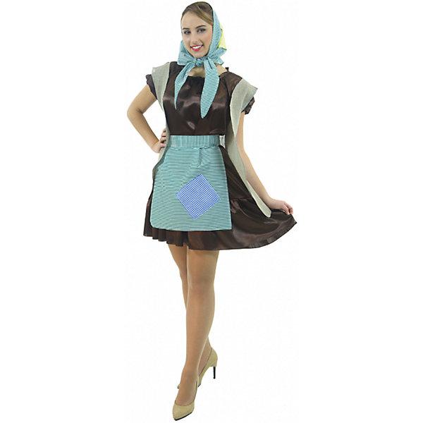Карнавальный костюм Баба Яга, ВестификаКарнавальные костюмы для девочек<br>Карнавальный костюм Баба-Яга создан для модных. В основу костюма легло коричневое платье из крепсатина. Поверх платья надевается удлиненная жилетка с имитацией заплаток, фартук. Дополняет костюм косынка в цвет фартука, которая может надеваться и как бандана.<br><br>Комплектация:<br>Платье <br>Фартук <br>Жилет <br>Бандана<br><br>Ткани:<br>Крепсатин (100% полиэстер)<br>Тиси (80% полиэстер, 20% хлопок)<br>Ширина мм: 450; Глубина мм: 80; Высота мм: 350; Вес г: 342; Возраст от месяцев: 144; Возраст до месяцев: 192; Пол: Женский; Возраст: Детский; Размер: 164/170; SKU: 5115707;