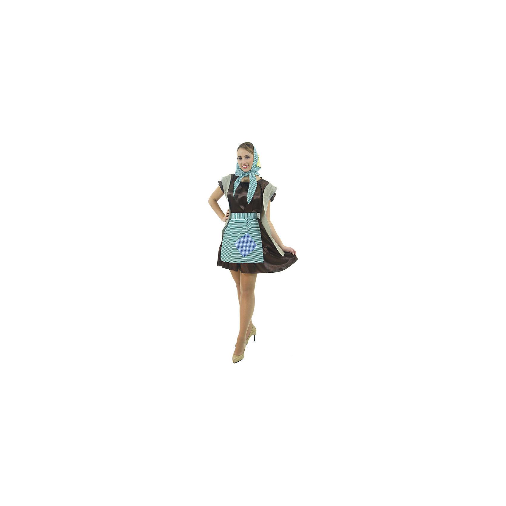 Карнавальный костюм Баба Яга, ВестификаДля девочек<br>Карнавальный костюм Баба-Яга создан для модных. В основу костюма легло коричневое платье из крепсатина. Поверх платья надевается удлиненная жилетка с имитацией заплаток, фартук. Дополняет костюм косынка в цвет фартука, которая может надеваться и как бандана.<br><br>Комплектация:<br>Платье <br>Фартук <br>Жилет <br>Бандана<br><br>Ткани:<br>Крепсатин (100% полиэстер)<br>Тиси (80% полиэстер, 20% хлопок)<br><br>Ширина мм: 450<br>Глубина мм: 80<br>Высота мм: 350<br>Вес г: 342<br>Цвет: разноцветный<br>Возраст от месяцев: 144<br>Возраст до месяцев: 192<br>Пол: Женский<br>Возраст: Детский<br>Размер: 164/170<br>SKU: 5115707