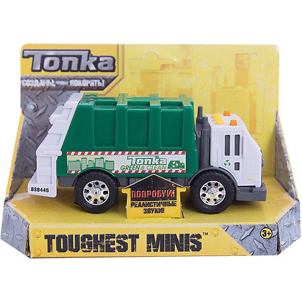 Машинка Мусоровоз Minis, со светом и звуком, TonkaМашинки<br>Машинка Мусоровоз Minis, со светом и звуком, Tonka<br><br>В набор входит:<br><br>-машинка<br>-две батарейки типа ААА<br><br>Характеристики:<br><br>-Возраст: от 3 лет<br>-Для мальчиков<br>-Размер машинки:14 х 4,5 х 6,5 см<br>-Материал: пластик<br>-Марка: Tonka(Тонка)<br><br>Машинка Мусоровоз Tonka Minis станет чудесным подарком для любителя автомобилей. Кабина автомобиля выполнена в белом цвете и имеет серые тонированные стекла, а также очень реалистично прорисованные дверцы. Зеленый кузов машинки по бокам имеет рисунок. Яркости автомобилю придают блестящие серебристые диски на колесах. На крыше кабины имеется три квадратные желтые кнопки и 2 проблесковых маячка. Если ребенок будет нажимать на кнопки, то загорятся желтые лампочки и будут слышны громкие звуковые эффекты. <br><br>Машинка Мусоровоз Minis, со светом и звуком, Tonka можно приобрести в нашем интернет-магазине.<br>Ширина мм: 89; Глубина мм: 178; Высота мм: 127; Вес г: 190; Возраст от месяцев: 36; Возраст до месяцев: 120; Пол: Мужской; Возраст: Детский; SKU: 5115728;