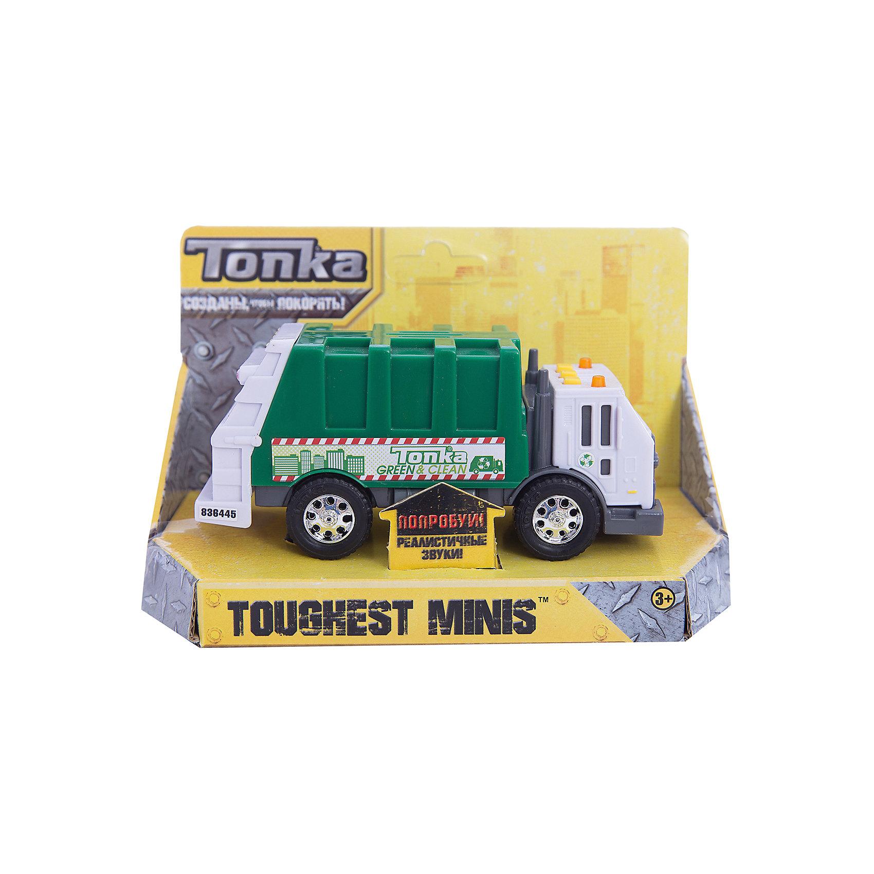 Машинка Мусоровоз Minis, со светом и звуком, TonkaМашинки<br>Машинка Мусоровоз Minis, со светом и звуком, Tonka<br><br>В набор входит:<br><br>-машинка<br>-две батарейки типа ААА<br><br>Характеристики:<br><br>-Возраст: от 3 лет<br>-Для мальчиков<br>-Размер машинки:14 х 4,5 х 6,5 см<br>-Материал: пластик<br>-Марка: Tonka(Тонка)<br><br>Машинка Мусоровоз Tonka Minis станет чудесным подарком для любителя автомобилей. Кабина автомобиля выполнена в белом цвете и имеет серые тонированные стекла, а также очень реалистично прорисованные дверцы. Зеленый кузов машинки по бокам имеет рисунок. Яркости автомобилю придают блестящие серебристые диски на колесах. На крыше кабины имеется три квадратные желтые кнопки и 2 проблесковых маячка. Если ребенок будет нажимать на кнопки, то загорятся желтые лампочки и будут слышны громкие звуковые эффекты. <br><br>Машинка Мусоровоз Minis, со светом и звуком, Tonka можно приобрести в нашем интернет-магазине.<br><br>Ширина мм: 89<br>Глубина мм: 178<br>Высота мм: 127<br>Вес г: 190<br>Возраст от месяцев: 36<br>Возраст до месяцев: 120<br>Пол: Мужской<br>Возраст: Детский<br>SKU: 5115728