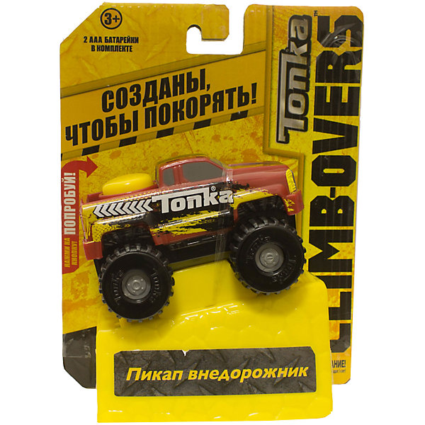 Машинка Climb-overs Пикап внедорожник, TonkaМашинки<br>Машинка Climb-overs Пикап внедорожник, Tonka<br><br>В набор входит:<br><br>-машинка<br><br>Характеристики:<br><br>-Возраст: от 3 лет<br>-Для мальчиков<br>-Тип батареек: 2 x AAA / LR0.3 1.5V <br>-Материал: пластик<br>-Марка: Tonka(Тонка)<br><br>Машинка Tonka Climb-overs Пикап внедорожник станет отличным подарком юному любителю гонок. Красный джип с желтым рисунком имеет открытый кузов. Мощные черные колеса автомобиля с серыми дисками легко проедут через любое препятствие. А если ребенок нажмет на большую желтую кнопку, располагающуюся на крыше кузова, то машинка быстро помчится вперед. Собери всю коллекцию машинок данной серии и играй в них вместе с друзьями, придумывая разные игровые сюжеты! Также машинка подойдет для треков этой серии. Для работы машинки требуются 3 батарейки типа ААА(в комплект не входят).<br><br>Машинка Climb-overs Пикап внедорожник, Tonka можно приобрести в нашем интернет-магазине.<br>Ширина мм: 165; Глубина мм: 51; Высота мм: 127; Вес г: 150; Возраст от месяцев: 36; Возраст до месяцев: 120; Пол: Мужской; Возраст: Детский; SKU: 5115729;