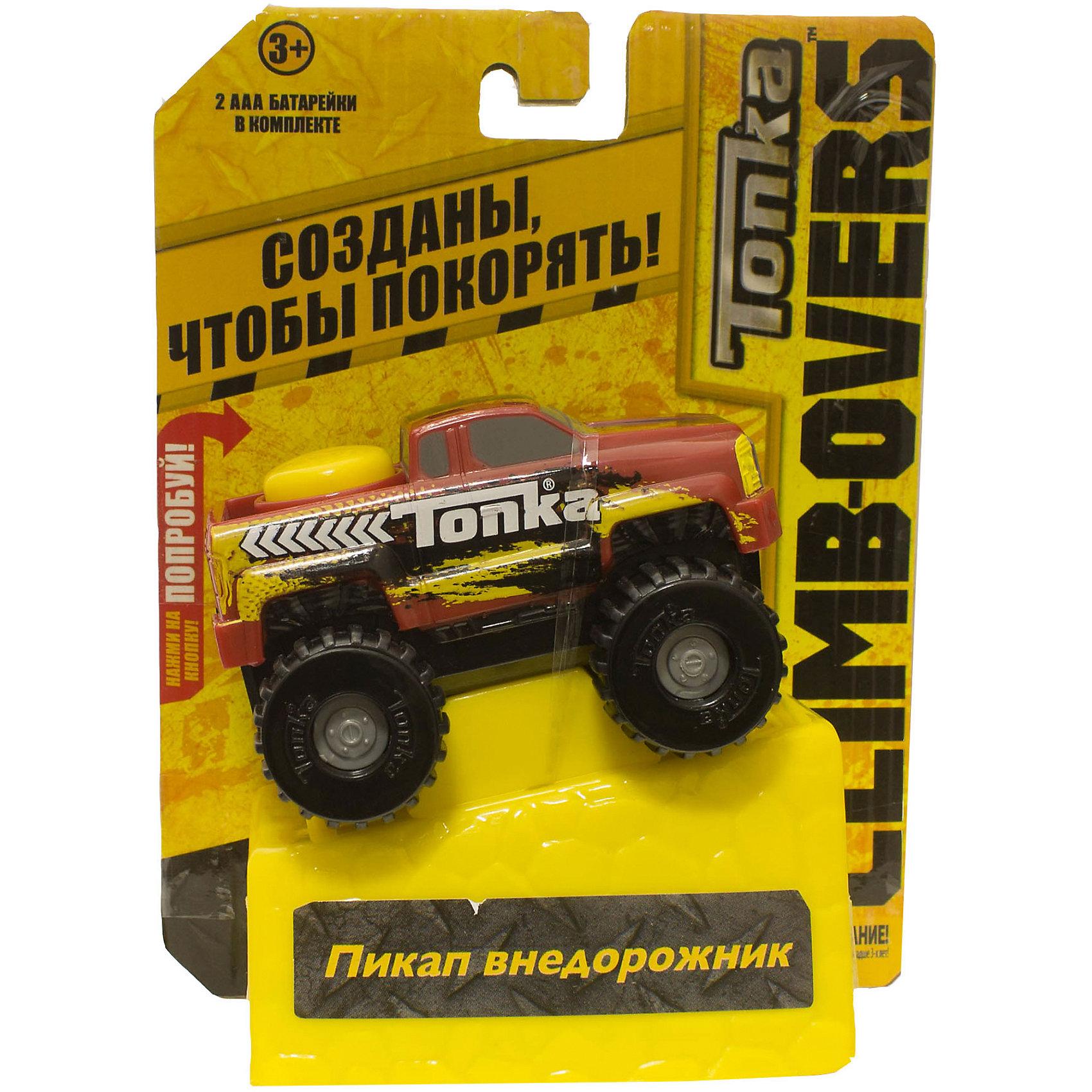 Машинка Climb-overs Пикап внедорожник, TonkaМашинки<br>Машинка Climb-overs Пикап внедорожник, Tonka<br><br>В набор входит:<br><br>-машинка<br><br>Характеристики:<br><br>-Возраст: от 3 лет<br>-Для мальчиков<br>-Тип батареек: 2 x AAA / LR0.3 1.5V <br>-Материал: пластик<br>-Марка: Tonka(Тонка)<br><br>Машинка Tonka Climb-overs Пикап внедорожник станет отличным подарком юному любителю гонок. Красный джип с желтым рисунком имеет открытый кузов. Мощные черные колеса автомобиля с серыми дисками легко проедут через любое препятствие. А если ребенок нажмет на большую желтую кнопку, располагающуюся на крыше кузова, то машинка быстро помчится вперед. Собери всю коллекцию машинок данной серии и играй в них вместе с друзьями, придумывая разные игровые сюжеты! Также машинка подойдет для треков этой серии. Для работы машинки требуются 3 батарейки типа ААА(в комплект не входят).<br><br>Машинка Climb-overs Пикап внедорожник, Tonka можно приобрести в нашем интернет-магазине.<br><br>Ширина мм: 165<br>Глубина мм: 51<br>Высота мм: 127<br>Вес г: 150<br>Возраст от месяцев: 36<br>Возраст до месяцев: 120<br>Пол: Мужской<br>Возраст: Детский<br>SKU: 5115729