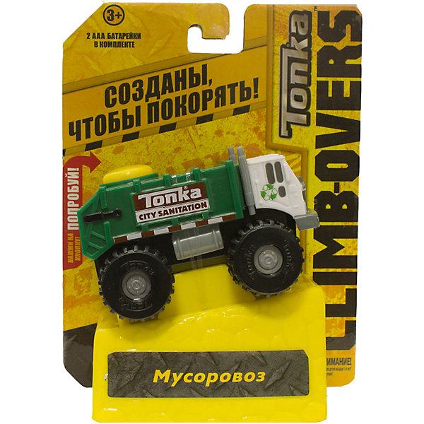 Машинка Climb-overs Мусоровоз, TonkaМашинки<br>Машинка Climb-overs Мусоровоз, Tonka<br><br>Характеристики:<br><br>-Возраст: от 3 лет<br>-Для мальчиков<br>-Тип батареек: 2 х AAA / LR0.3 1.5V <br>-Материал: пластик<br>-Марка: Tonka(Тонка)<br><br>Машинка Tonka Climb-overs Garbage Hauler станет отличным подарком юному любителю гонок. Машинка имеет белую кабину водителя и закрытый зеленый кузов. Мощные черные колеса автомобиля с серыми дисками легко проедут через любое препятствие. А если ребенок нажмет на большую желтую кнопку, располагающуюся на крыше кузова, то машинка быстро помчится вперед. Собери всю коллекцию машинок данной серии и играй в них вместе с друзьями, придумывая разные игровые сюжеты! Также машинка подойдет для треков этой серии. Для работы требуются 3 батарейки ААА (в комплект не входят)<br><br>Машинка Climb-overs Мусоровоз, Tonka можно приобрести в нашем интернет-магазине.<br>Ширина мм: 165; Глубина мм: 51; Высота мм: 127; Вес г: 150; Возраст от месяцев: 36; Возраст до месяцев: 120; Пол: Мужской; Возраст: Детский; SKU: 5115730;