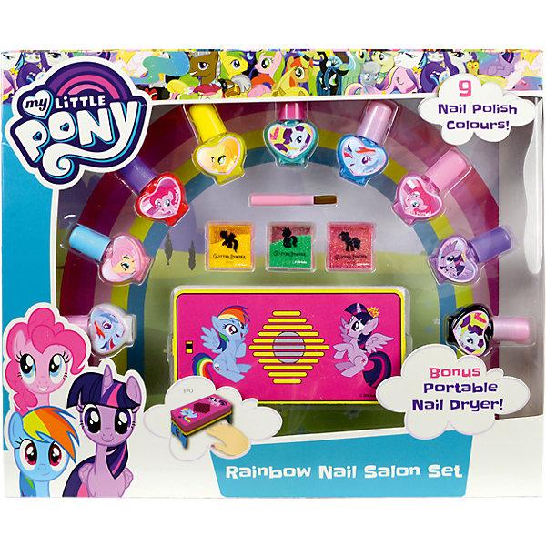 My Little Pony Игровой набор детской декоративной косметики для ногтейНаборы детской косметики<br>Состав набора: лаки для ногтей на водной основе 9 шт., блёстки в коробочках 3 шт., кисть 1 шт., устройство для сушки лака на ногтях 1 шт., устройство функционирует от 4 батареек типа AАА, в набор не входят.<br>Ширина мм: 309; Глубина мм: 251; Высота мм: 45; Вес г: 329; Возраст от месяцев: 36; Возраст до месяцев: 72; Пол: Женский; Возраст: Детский; SKU: 5117232;