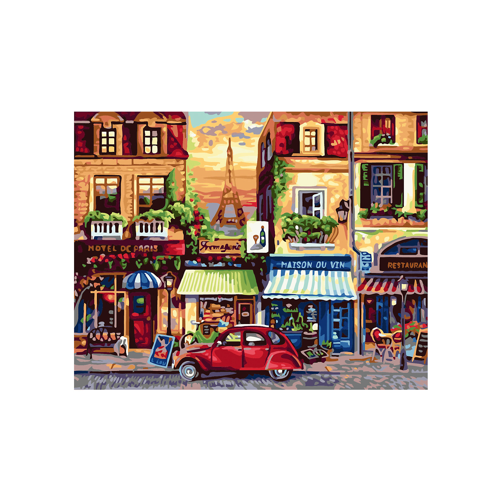 Роспись по номерам Париж 40*50 смХарактеристики товара:<br><br>- цвет: разноцветный;<br>- материал: бумага, акрил;<br>- комплектация: холст на подрамнике, кисти, краски, контрольный рисунок, инструкция;<br>- размер картины: 40х50 см;<br>- размер упаковки: 42х52х3 см.<br><br>Такой комплект для рисования станет отличным подарком и для ребенка, и для взрослого. Он помогает развить художественные навыки, поверить в свои силы, а в итоге работы получается произведение искусства, которое может украсить интерьер!<br>Основа набора - это полотно на подрамнике размером 40 на 50 сантиметров, на которое нанесены контуры рисунка, а участки пронумерованы. Каждому номеру соответствует баночка с краской определенного оттенка. Для удобного нанесения акриловых красок на водной основе в наборе есть три разные кисти, с их помощью даже мелкие детали можно аккуратно и красиво прорисовать. Чтобы контролировать процесс, можно сверяться с контрольным рисунком, на котором изображена готовая картина.<br>Роспись по такой схеме помогает развивать зрительную память, концентрацию внимания, мелкую моторику и цветовосприятие.<br><br>Роспись по номерам Париж 40*50 см можно купить в нашем интернет-магазине.<br><br>Ширина мм: 420<br>Глубина мм: 520<br>Высота мм: 50<br>Вес г: 900<br>Возраст от месяцев: 36<br>Возраст до месяцев: 2147483647<br>Пол: Унисекс<br>Возраст: Детский<br>SKU: 5117434