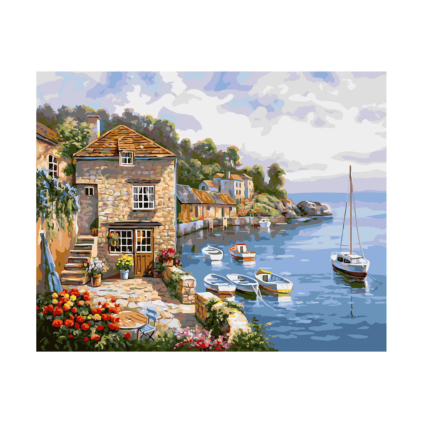 TUKZAR Роспись по номерам Каменный домик у моря 40*50 см наборы для рисования цветной картины по номерам девушка на фоне моря