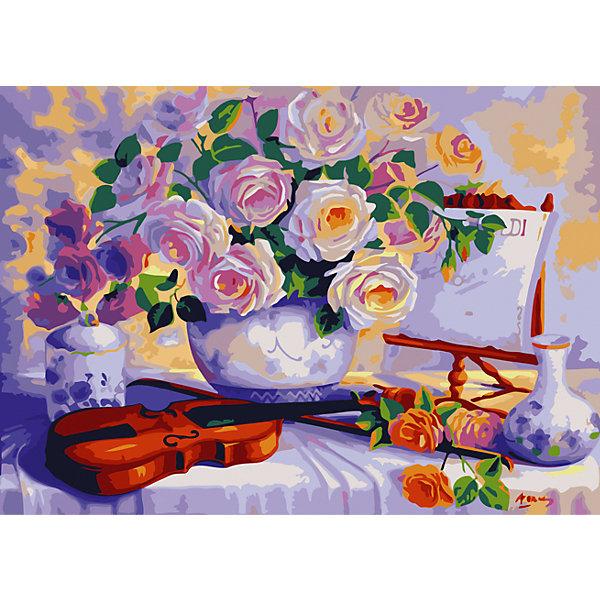 Роспись по номерам Цветы и скрипка 40*50 смПоследняя цена<br>Характеристики товара:<br><br>- цвет: разноцветный;<br>- материал: бумага, акрил;<br>- комплектация: холст на подрамнике, кисти, краски, контрольный рисунок, инструкция;<br>- размер картины: 40х50 см;<br>- размер упаковки: 42х52х3 см.<br><br>Этот набор для рисования станет отличным подарком и для ребенка, и для взрослого. Он помогает развить художественные навыки, поверить в свои силы, а в итоге работы получается произведение искусства, которое может украсить интерьер!<br>Основа комплекта - это полотно на подрамнике размером 40 на 50 сантиметров, на которое нанесены контуры рисунка, а участки пронумерованы. Каждому номеру соответствует баночка с краской определенного оттенка. Для удобного нанесения акриловых красок на водной основе в наборе есть три разные кисти, с их помощью даже мелкие детали можно аккуратно и красиво прорисовать. Чтобы контролировать процесс, можно сверяться с контрольным рисунком, на котором изображена готовая картина.<br>Роспись по такой схеме помогает развивать зрительную память, концентрацию внимания, мелкую моторику и цветовосприятие.<br><br>Роспись по номерам Цветы и скрипка 40*50 см можно купить в нашем интернет-магазине.<br><br>Ширина мм: 420<br>Глубина мм: 520<br>Высота мм: 50<br>Вес г: 900<br>Возраст от месяцев: 36<br>Возраст до месяцев: 2147483647<br>Пол: Унисекс<br>Возраст: Детский<br>SKU: 5117460