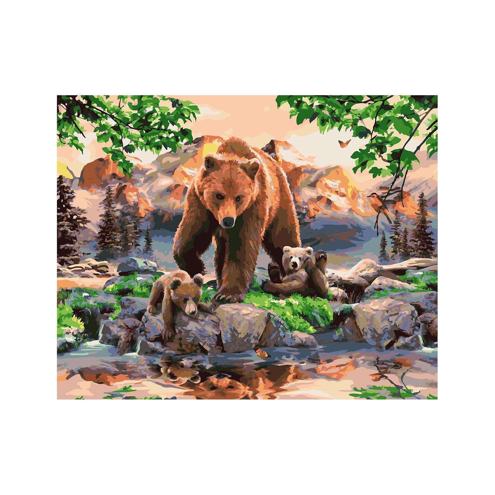 Роспись по номерам Медведица с медвежатами 40*50 смХарактеристики товара:<br><br>- цвет: разноцветный;<br>- материал: бумага, акрил;<br>- комплектация: холст на подрамнике, кисти, краски, контрольный рисунок, инструкция;<br>- размер картины: 40х50 см;<br>- размер упаковки: 42х52х3 см.<br><br>Этот набор для рисования станет отличным подарком и для ребенка, и для взрослого. Он помогает развить художественные навыки, поверить в свои силы, а в итоге работы получается произведение искусства, которое может украсить интерьер!<br>Основа комплекта - это полотно на подрамнике размером 40 на 50 сантиметров, на которое нанесены контуры рисунка, а участки пронумерованы. Каждому номеру соответствует баночка с краской определенного оттенка. Для удобного нанесения акриловых красок на водной основе в наборе есть три разные кисти, с их помощью даже мелкие детали можно аккуратно и красиво прорисовать. Чтобы контролировать процесс, можно сверяться с контрольным рисунком, на котором изображена готовая картина.<br>Роспись по такой схеме помогает развивать зрительную память, концентрацию внимания, мелкую моторику и цветовосприятие.<br><br>Роспись по номерам Медведица с медвежатами 40*50 см можно купить в нашем интернет-магазине.<br><br>Ширина мм: 420<br>Глубина мм: 520<br>Высота мм: 50<br>Вес г: 900<br>Возраст от месяцев: 36<br>Возраст до месяцев: 2147483647<br>Пол: Унисекс<br>Возраст: Детский<br>SKU: 5117478