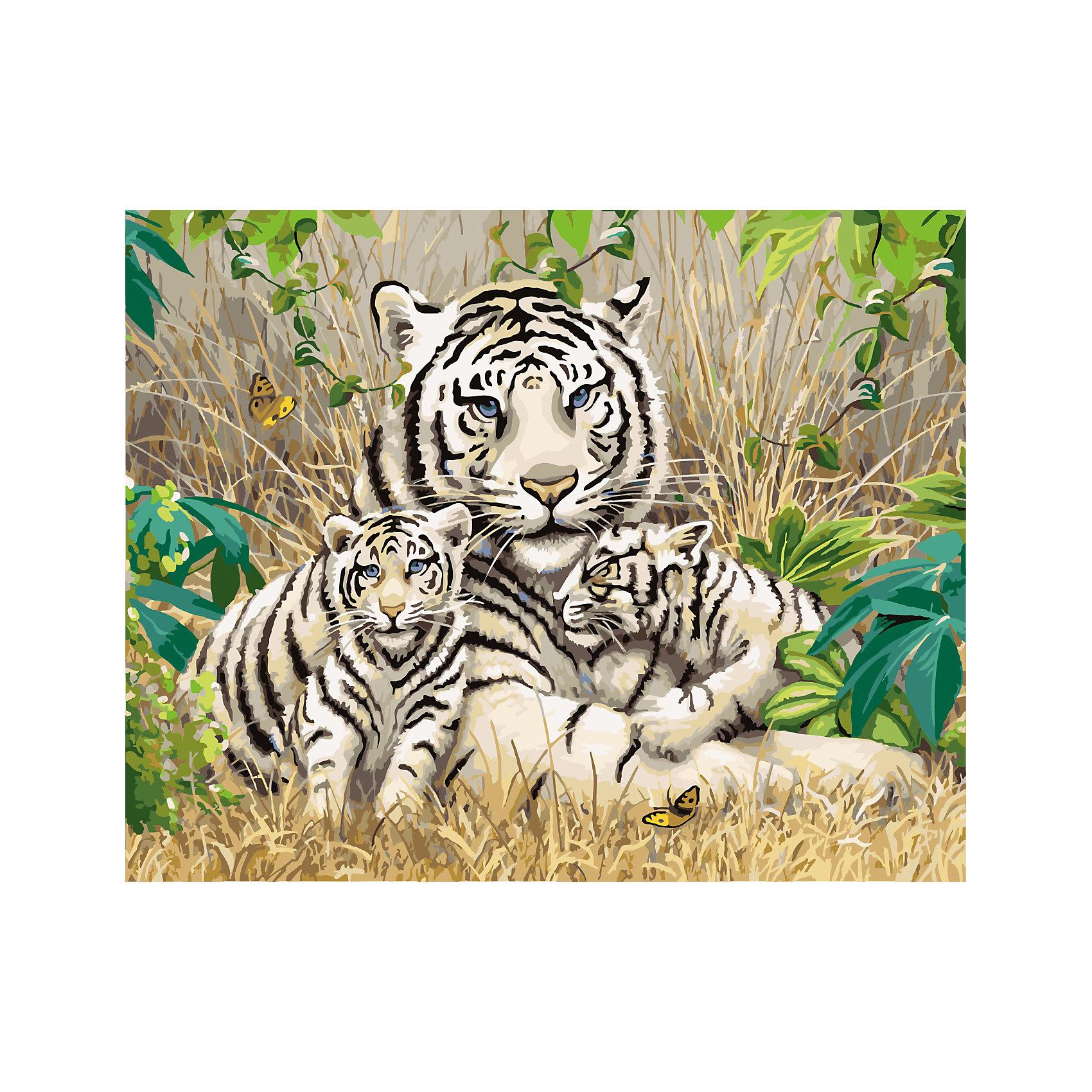 Роспись по номерам Бенгальская тигрица и тигрята 40*50 смХарактеристики товара:<br><br>- цвет: разноцветный;<br>- материал: бумага, акрил;<br>- комплектация: холст на подрамнике, кисти, краски, контрольный рисунок, инструкция;<br>- размер картины: 40х50 см;<br>- размер упаковки: 42х52х3 см.<br><br>Этот набор для рисования станет отличным подарком и для ребенка, и для взрослого. Он помогает развить художественные навыки, поверить в свои силы, а в итоге работы получается произведение искусства, которое может украсить интерьер!<br>Основа комплекта - это полотно на подрамнике размером 40 на 50 сантиметров, на которое нанесены контуры рисунка, а участки пронумерованы. Каждому номеру соответствует баночка с краской определенного оттенка. Для удобного нанесения акриловых красок на водной основе в наборе есть три разные кисти, с их помощью даже мелкие детали можно аккуратно и красиво прорисовать. Чтобы контролировать процесс, можно сверяться с контрольным рисунком, на котором изображена готовая картина.<br>Роспись по такой схеме помогает развивать зрительную память, концентрацию внимания, мелкую моторику и цветовосприятие.<br><br>Роспись по номерам Бенгальская тигрица и тигрята 40*50 см можно купить в нашем интернет-магазине.<br><br>Ширина мм: 420<br>Глубина мм: 520<br>Высота мм: 50<br>Вес г: 900<br>Возраст от месяцев: 36<br>Возраст до месяцев: 2147483647<br>Пол: Унисекс<br>Возраст: Детский<br>SKU: 5117483