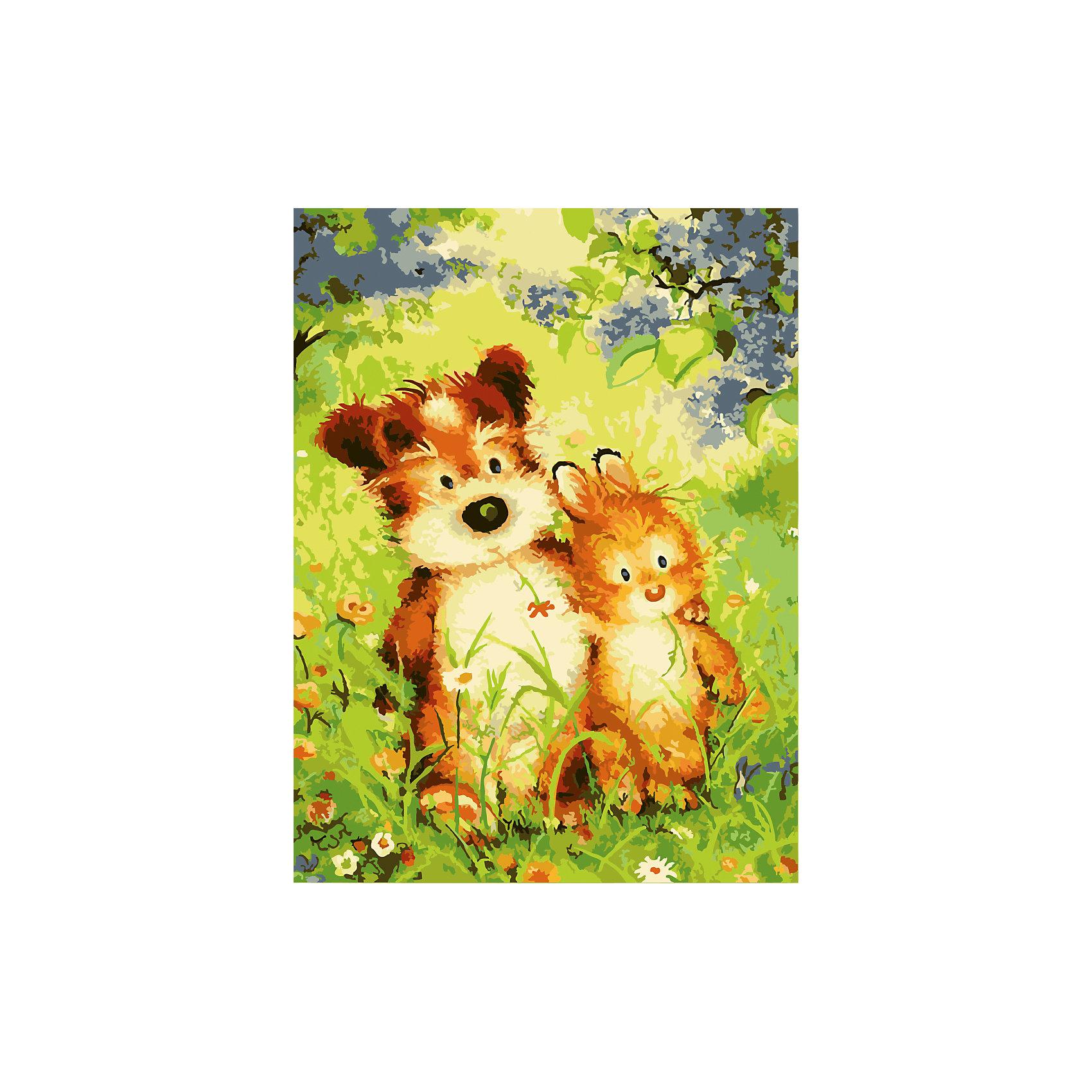 TUKZAR Роспись по номерам Пес и заяц 30*40 см, детская серия наборы для рисования цветной картины по номерам пес федя