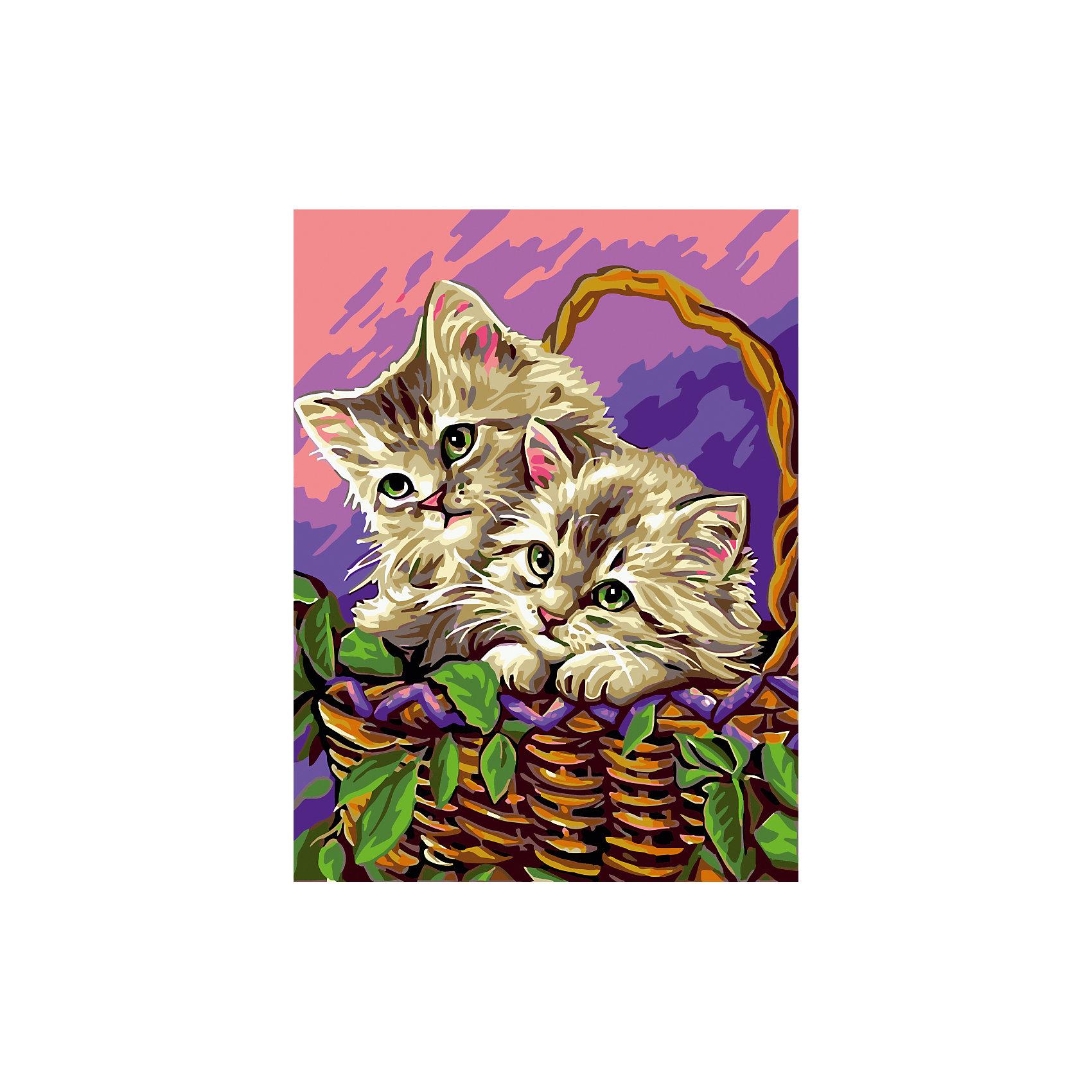 Роспись по номерам Котята в корзинке 30*40 см, детская серияХарактеристики товара:<br><br>- цвет: разноцветный;<br>- материал: бумага, акрил;<br>- комплектация: холст на подрамнике, кисти, краски, контрольный рисунок, инструкция;<br>- размер картины: 30х40 см.<br><br>Такой комплект для рисования из специальной детской серии станет отличным подарком для ребенка. Он помогает развить художественные навыки, поверить в свои силы, а в итоге работы получается картина, которое может украсить детскую или стать подарком родственникам!<br>Основа этого набора - полотно на подрамнике размером 30 на 40 сантиметров, на которое нанесены контуры рисунка, а участки пронумерованы. Каждому номеру соответствует баночка с краской определенного оттенка. Для удобного нанесения акриловых красок на водной основе в наборе есть три разные кисти, с их помощью даже мелкие детали можно аккуратно и красиво прорисовать. Чтобы контролировать процесс, можно сверяться с контрольным рисунком, на котором изображена готовая картина.<br>Роспись по такой схеме помогает развивать у ребенка зрительную память, концентрацию внимания, мелкую моторику и цветовосприятие.<br><br>Роспись по номерам Котята в корзинке 30*40 см, детская серия, можно купить в нашем интернет-магазине.<br><br>Ширина мм: 320<br>Глубина мм: 420<br>Высота мм: 40<br>Вес г: 900<br>Возраст от месяцев: 36<br>Возраст до месяцев: 2147483647<br>Пол: Унисекс<br>Возраст: Детский<br>SKU: 5117517