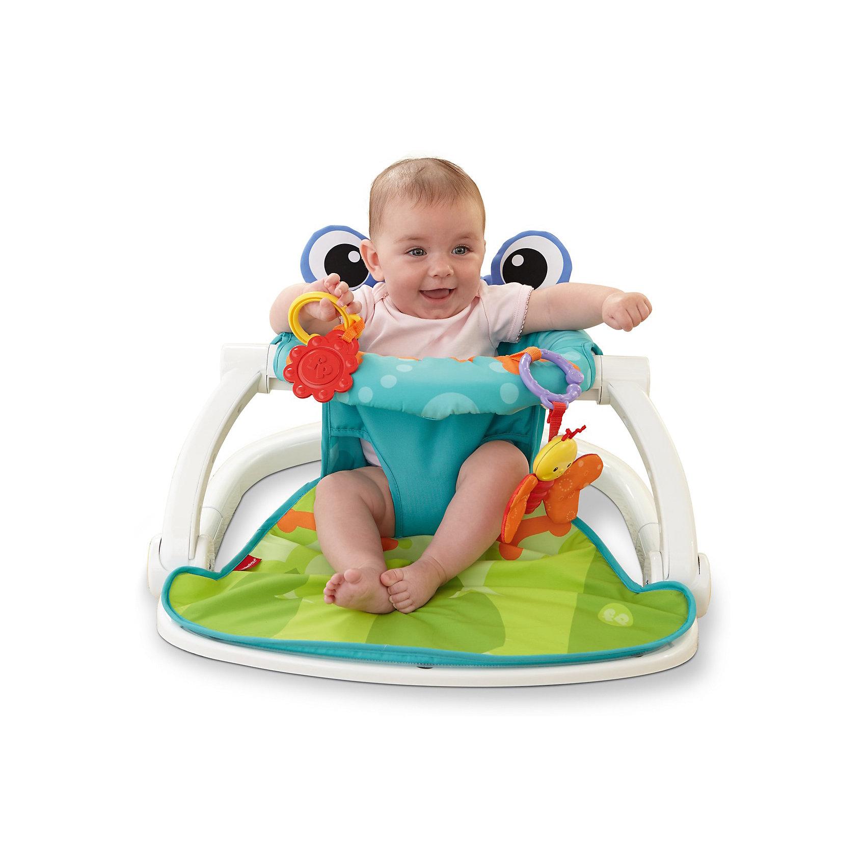 Напольное сиденье Лягушонок, Fisher PriceХарактеристики:<br><br>• Вид детской мебели: кресло-сиденье<br>• Пол: универсальный<br>• Материал: пластик, текстиль<br>• Цвет: голубой, зеленый, оранжевый<br>• Максимально допустимый вес: 11 кг<br>• Размер (Д*Ш*В): 51*25*66 см<br>• Вес: 3 кг 230 г<br>• Наличие складывающегося механизма<br>• Наличие подвесных игрушек<br>• Наличие съемного чехла<br>• Особенности ухода: пластиковый каркас можно мыть теплой мыльной водой, съемный чехол разрешается стирать при температуре не более 30 градусов<br><br>Напольное сиденье Лягушонок, Fisher Price ? мягкое и удобное кресло для самых маленьких детей. Сиденье выполнено из прочных и безопасных материалов: пластиковый каркас обеспечивает надежную защиту для ребенка, а мягкое сиденье-чехол – удобство и комфорт. Кресло имеет устойчивое основание, за счет чего обеспечивается защита от переворачивания. Кроме того, каркас имеет складной механизм, поэтому кресло удобно брать с собой в путешествия и поездки. В комплекте предусмотрены две яркие игрушки-подвески, различная фактура которых будет способствовать развитию тактильных ощущений. Сиденье выполнено в форме лягушонка с большими объемными глазами на спинке стула. <br><br>Напольное сиденье Лягушонок, Fisher Price можно купить в нашем интернет-магазине.<br><br>Ширина мм: 559<br>Глубина мм: 121<br>Высота мм: 426<br>Вес г: 4500<br>Возраст от месяцев: 0<br>Возраст до месяцев: 12<br>Пол: Унисекс<br>Возраст: Детский<br>SKU: 5118148