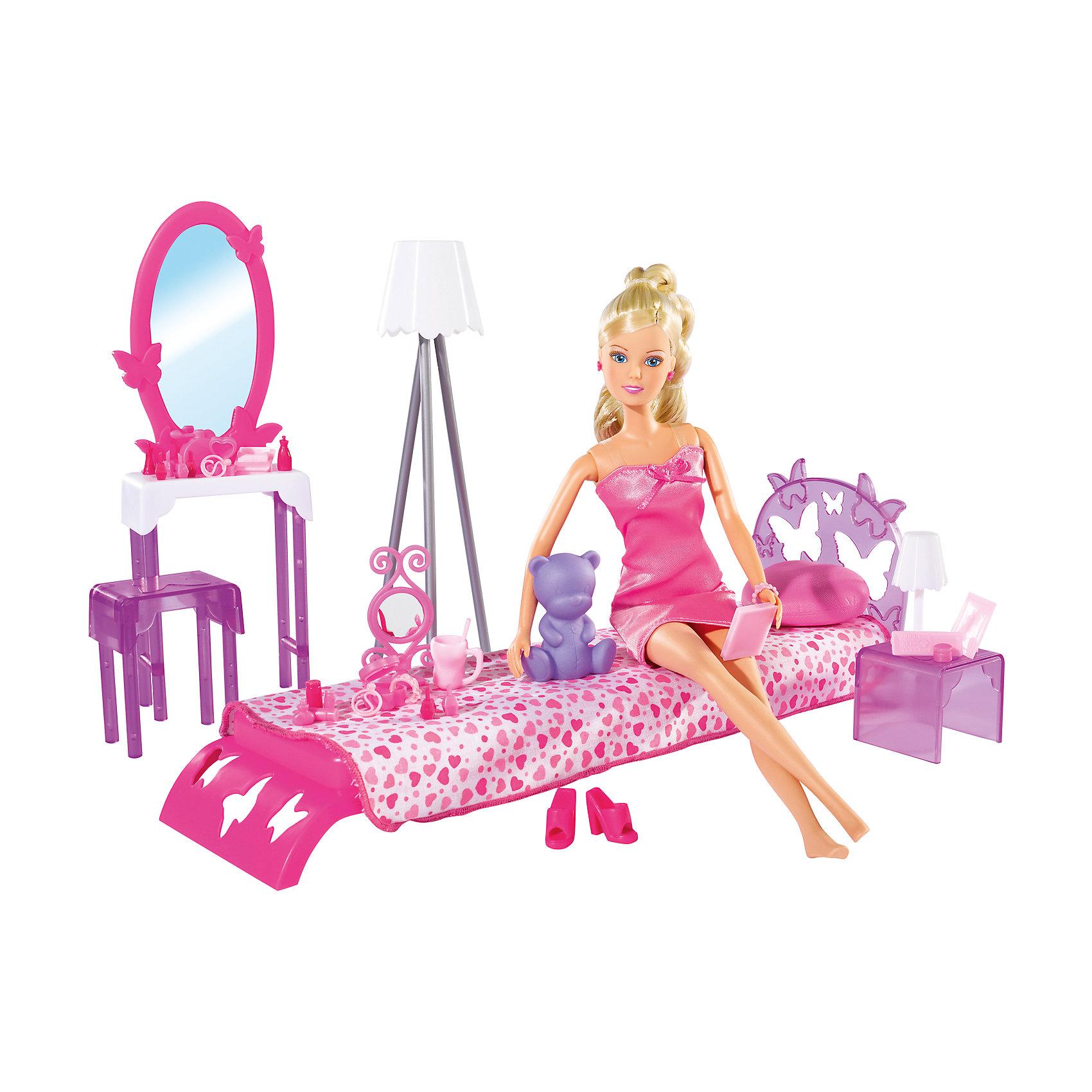 Кукла Штеффи в спальной комнате с аксессуарами, 29 см, SimbaХарактеристики товара:<br><br>- цвет: разноцветный;<br>- материал: пластик;<br>- возраст: от трех лет;<br>- комплектация: кукла, аксессуары, декорации;<br>- высота куклы: 29 см.<br><br>Эта симпатичная кукла Штеффи от известного бренда не оставит девочку равнодушной! Какая девочка сможет отказаться поиграть с куклами, которые дополнены набором в виде целой комнаты и предметами из неё?! В набор входят аксессуары и предметы мебели для игр с куклой. Игрушка очень качественно выполнена, поэтому она станет замечательным подарком ребенку. <br>Продается набор в красивой удобной упаковке. Изделие произведено из высококачественного материала, безопасного для детей.<br><br>Куклу Штеффи спальной комнате с аксессуарами, 29 см, от бренда Simba можно купить в нашем интернет-магазине.<br><br>Ширина мм: 100<br>Глубина мм: 400<br>Высота мм: 330<br>Вес г: 910<br>Возраст от месяцев: 36<br>Возраст до месяцев: 120<br>Пол: Женский<br>Возраст: Детский<br>SKU: 5119511