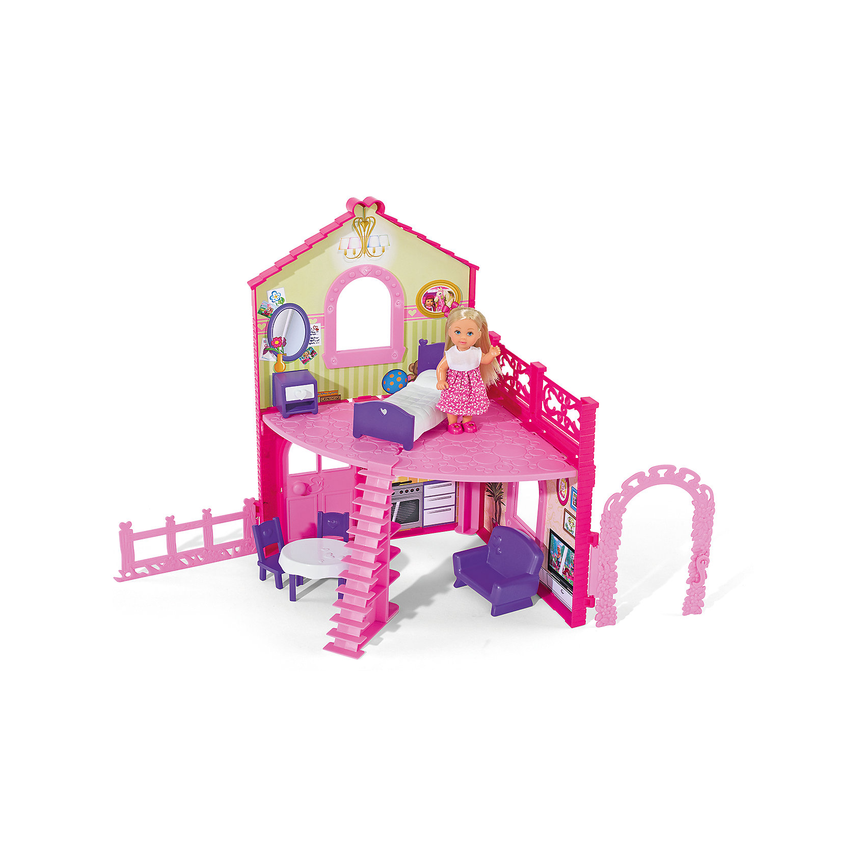 Кукла Еви в двухэтажном доме, SimbaSteffi и Evi Love<br>Характеристики товара:<br><br>- цвет: разноцветный;<br>- материал: пластик;<br>- возраст: от трех лет;<br>- комплектация: кукла, одежда, мебель;<br>- высота куклы: 12 см.<br><br>Эта симпатичная кукла Еви от известного бренда приводит детей в восторг! Какая девочка сможет отказаться поиграть с куклами, которые дополнены набором в виде дома и предметами из него?! В набор входят аксессуары и предметы мебели для игр с куклой. Игрушка очень качественно выполнена, поэтому она станет замечательным подарком ребенку. <br>Продается набор в красивой удобной упаковке. Изделие произведено из высококачественного материала, безопасного для детей.<br><br>Куклу Еви в двухэтажном доме от бренда Simba можно купить в нашем интернет-магазине.<br><br>Ширина мм: 70<br>Глубина мм: 400<br>Высота мм: 330<br>Вес г: 1100<br>Возраст от месяцев: 36<br>Возраст до месяцев: 120<br>Пол: Женский<br>Возраст: Детский<br>SKU: 5119517
