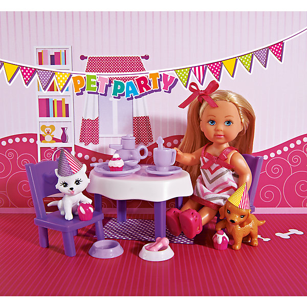 Кукла Еви с набором  День рождение питомцев, SimbaКуклы<br>Характеристики товара:<br><br>- цвет: разноцветный;<br>- материал: пластик;<br>- возраст: от трех лет;<br>- комплектация: кукла, одежда, мебель, 2 фигурки животных, аксессуары;<br>- высота куклы: 12 см.<br><br>Эта симпатичная кукла Еви от известного бренда приводит детей в восторг! Какая девочка сможет отказаться поиграть с куклами, которые дополнены набором в виде животных?! В набор также входят аксессуары и предметы мебели для игр с куклой. Игрушка очень качественно выполнена, поэтому она станет замечательным подарком ребенку. <br>Продается набор в красивой удобной упаковке. Изделие произведено из высококачественного материала, безопасного для детей.<br><br>Куклу Еви с набором День рождение питомцев от бренда Simba можно купить в нашем интернет-магазине.<br><br>Ширина мм: 70<br>Глубина мм: 162<br>Высота мм: 185<br>Вес г: 200<br>Возраст от месяцев: 36<br>Возраст до месяцев: 120<br>Пол: Женский<br>Возраст: Детский<br>SKU: 5119519