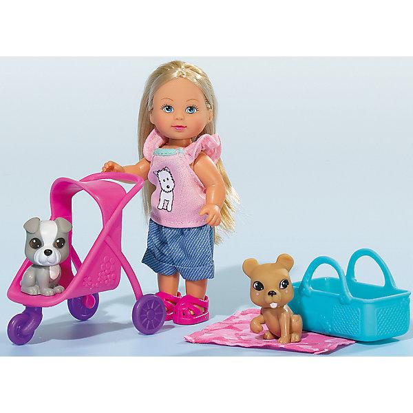 Кукла Еви с двумя собачками и коляской, 12 см, SimbaКуклы<br>Характеристики товара:<br><br>- цвет: разноцветный;<br>- материал: пластик;<br>- возраст: от трех лет;<br>- комплектация: кукла, одежда, 2 фигурки животных, аксессуары;<br>- высота куклы: 12 см.<br><br>Эта симпатичная кукла Еви от известного бренда приводит детей в восторг! Какая девочка сможет отказаться поиграть с куклами, которые дополнены набором в виде животных?! В набор также входят аксессуары и для игр с куклой. Игрушка очень качественно выполнена, поэтому она станет замечательным подарком ребенку. <br>Продается набор в красивой удобной упаковке. Изделие произведено из высококачественного материала, безопасного для детей.<br><br>Куклу Еви с двумя собачками и коляской от бренда Simba можно купить в нашем интернет-магазине.<br>Ширина мм: 60; Глубина мм: 160; Высота мм: 120; Вес г: 130; Возраст от месяцев: 36; Возраст до месяцев: 120; Пол: Женский; Возраст: Детский; SKU: 5119522;