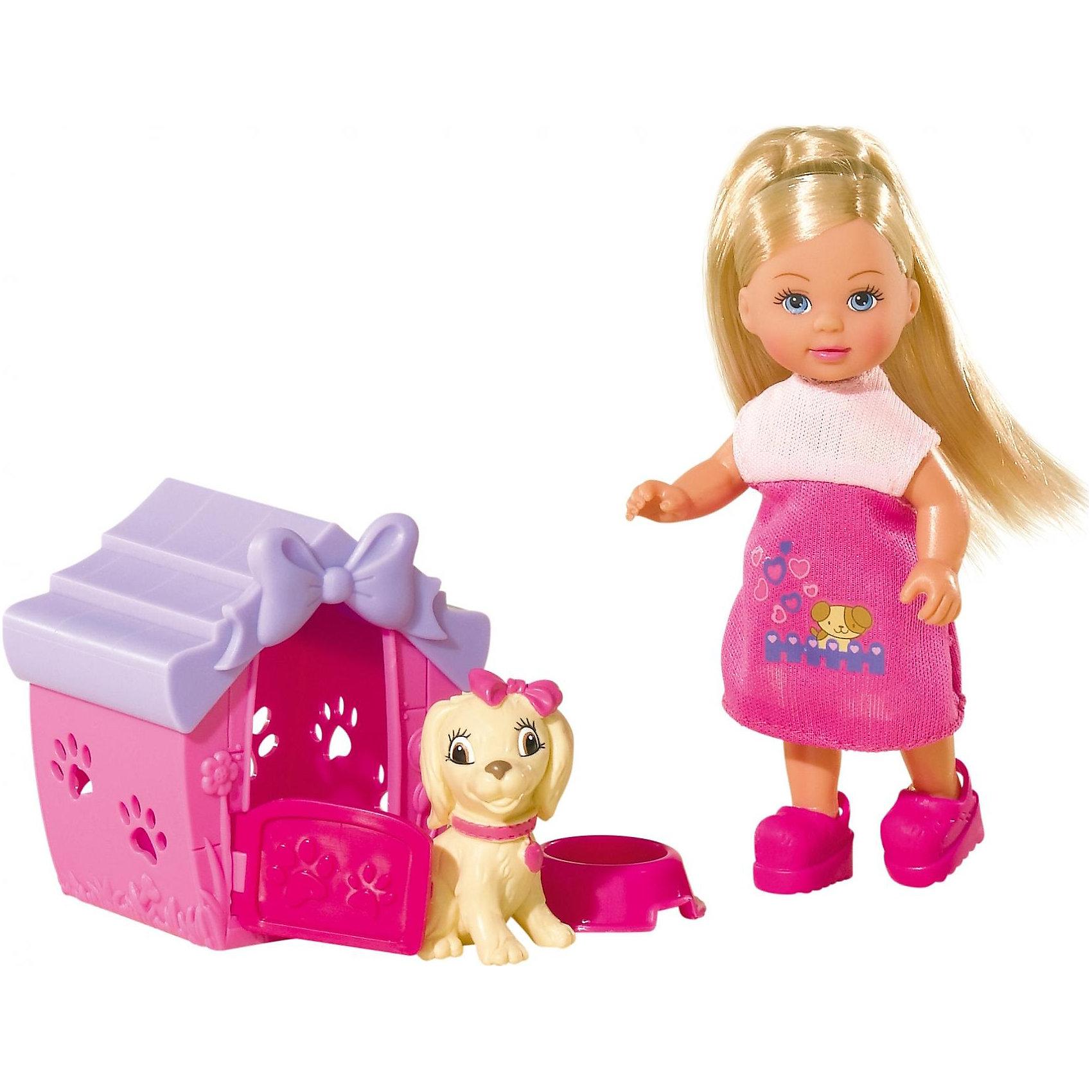 Кукла Еви с собачкой в домике, 12 см, SimbaХарактеристики товара:<br><br>- цвет: разноцветный;<br>- материал: пластик;<br>- возраст: от трех лет;<br>- комплектация: кукла, одежда, фигурка животного, аксессуары;<br>- высота куклы: 12 см.<br><br>Эта симпатичная кукла Еви от известного бренда приводит детей в восторг! Какая девочка сможет отказаться поиграть с куклами, которые дополнены набором в виде домашнего животного и предметов для него?! В набор также входят аксессуары и для игр с куклой. Игрушка очень качественно выполнена, поэтому она станет замечательным подарком ребенку. <br>Продается набор в красивой удобной упаковке. Изделие произведено из высококачественного материала, безопасного для детей.<br><br>Куклу Еви с собачкой в домике от бренда Simba можно купить в нашем интернет-магазине.<br><br>Ширина мм: 60<br>Глубина мм: 120<br>Высота мм: 160<br>Вес г: 160<br>Возраст от месяцев: 36<br>Возраст до месяцев: 120<br>Пол: Женский<br>Возраст: Детский<br>SKU: 5119525