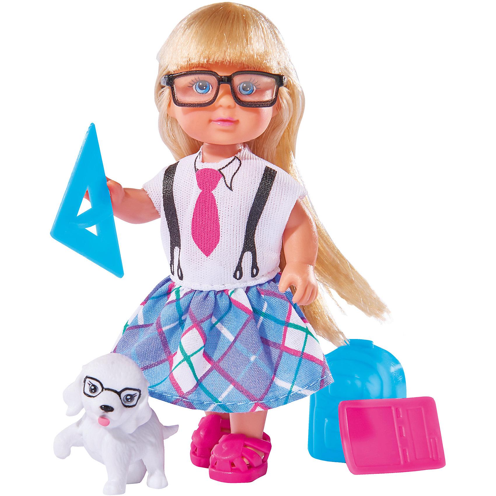 Кукла Еви и школьные принадлежности, SimbaМини-куклы<br>Характеристики товара:<br><br>- цвет: разноцветный;<br>- материал: пластик;<br>- возраст: от трех лет;<br>- комплектация: кукла, одежда, фигурка животного, аксессуары;<br>- высота куклы: 12 см.<br><br>Эта симпатичная кукла Еви от известного бренда приводит детей в восторг! Какая девочка сможет отказаться поиграть с куклами, которые дополнены набором в виде домашнего животного и полезных предметов?! В набор также входят аксессуары для игр с куклой. Игрушка очень качественно выполнена, поэтому она станет замечательным подарком ребенку. <br>Продается набор в красивой удобной упаковке. Изделие произведено из высококачественного материала, безопасного для детей.<br><br>Куклу Еви и школьные принадлежности от бренда Simba можно купить в нашем интернет-магазине.<br><br>Ширина мм: 45<br>Глубина мм: 160<br>Высота мм: 140<br>Вес г: 130<br>Возраст от месяцев: 36<br>Возраст до месяцев: 120<br>Пол: Женский<br>Возраст: Детский<br>SKU: 5119526